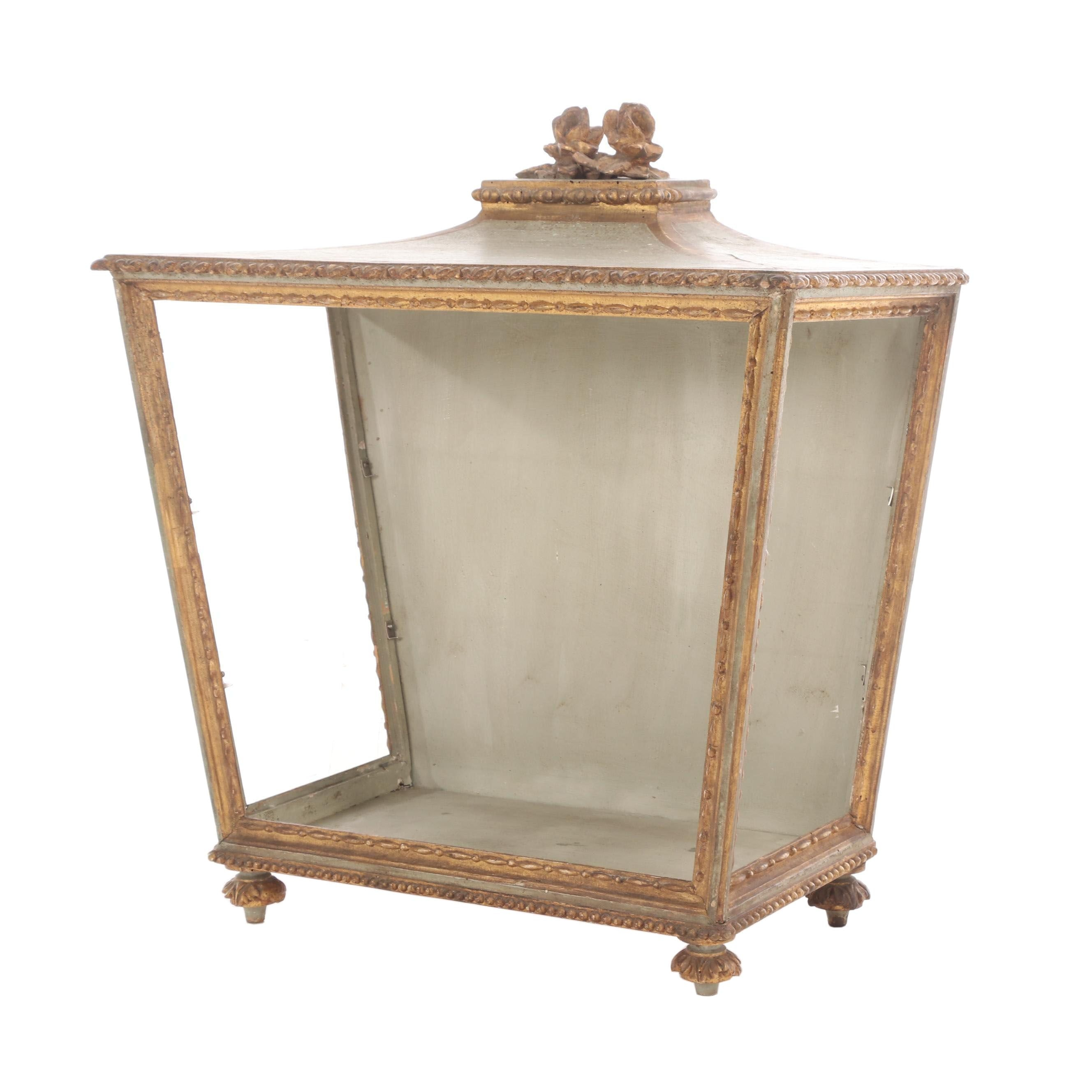 Louis XVI Style Carved Painted Giltwood Tabletop Vitrine