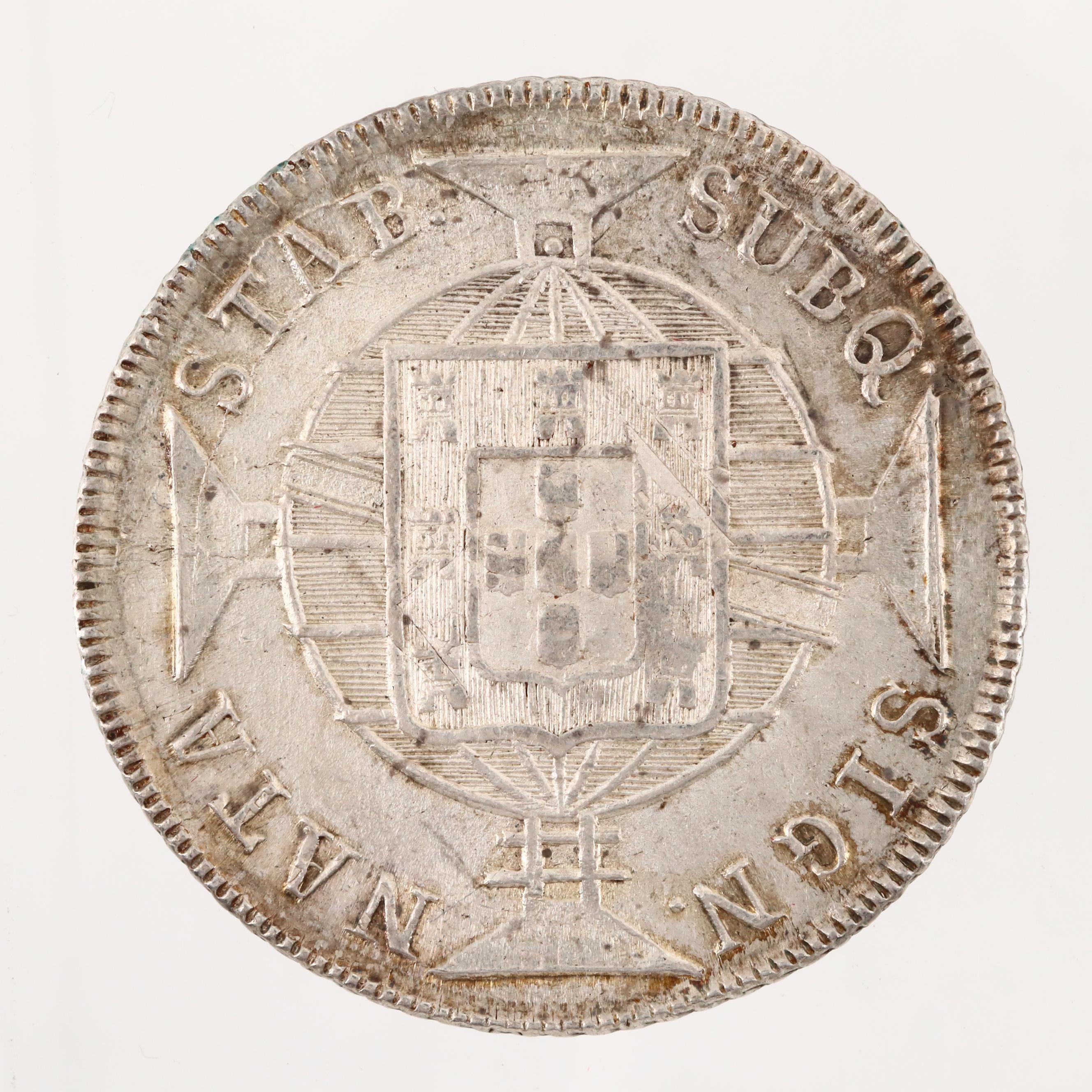 Brazil 1818-R 960 Reis Struck Under João VI Silver Coin