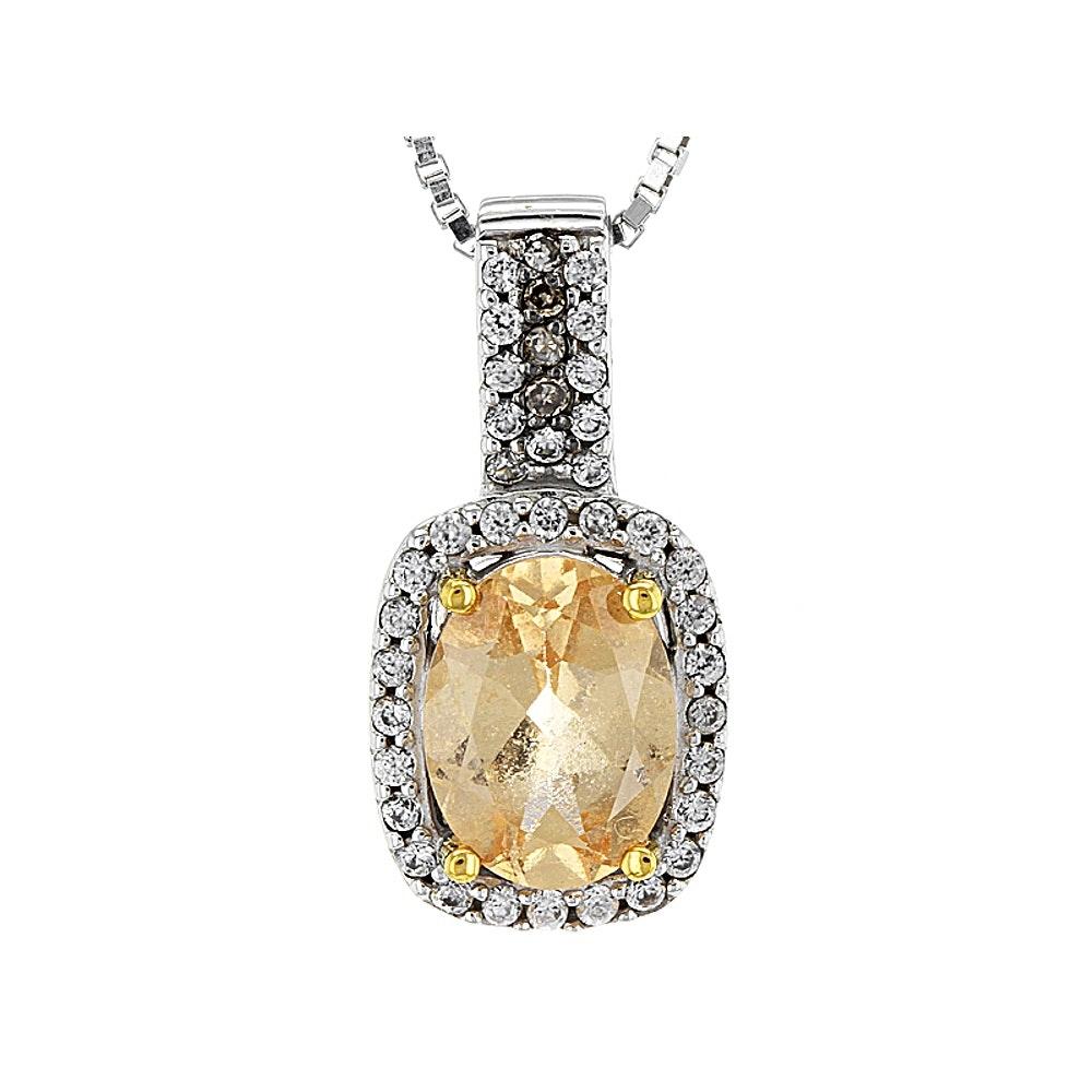 Sterling Silver Hessonite, White Zircon, and Diamond Pendant Necklace
