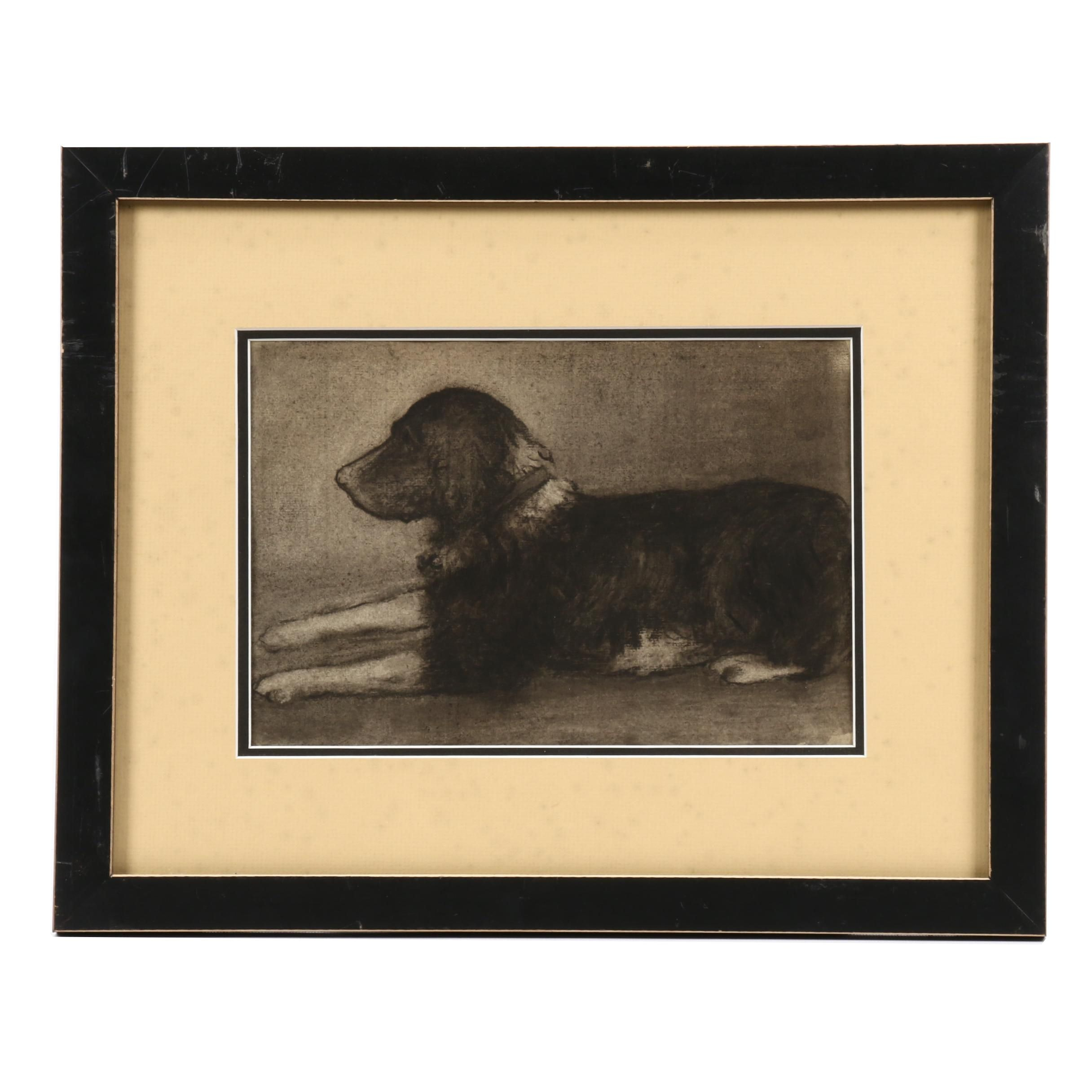 Attributed to Helen Mary Knowlton Pastel Drawing of Dog