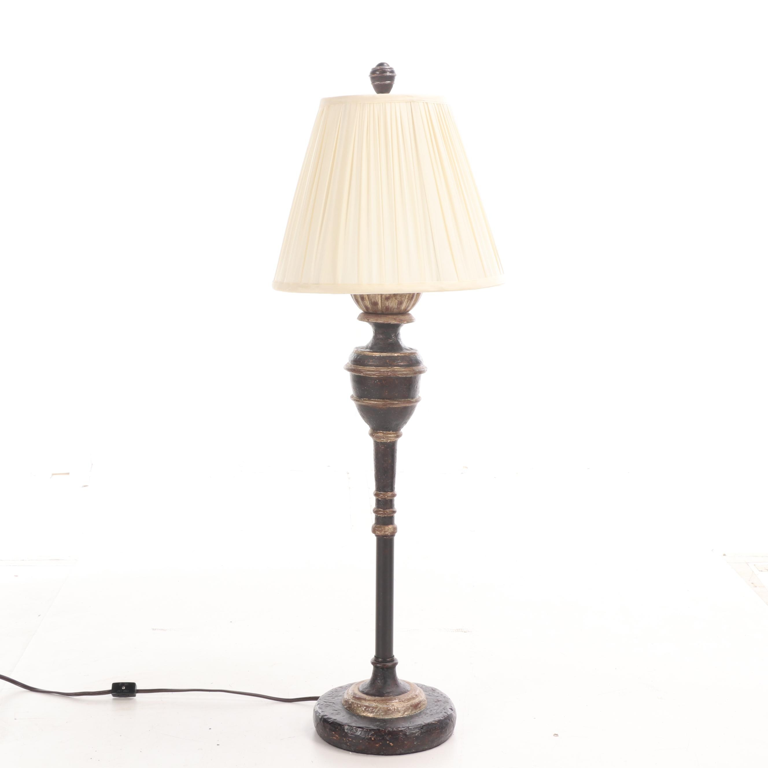 Contemporary Distressed Resin and Metal Table Lamp