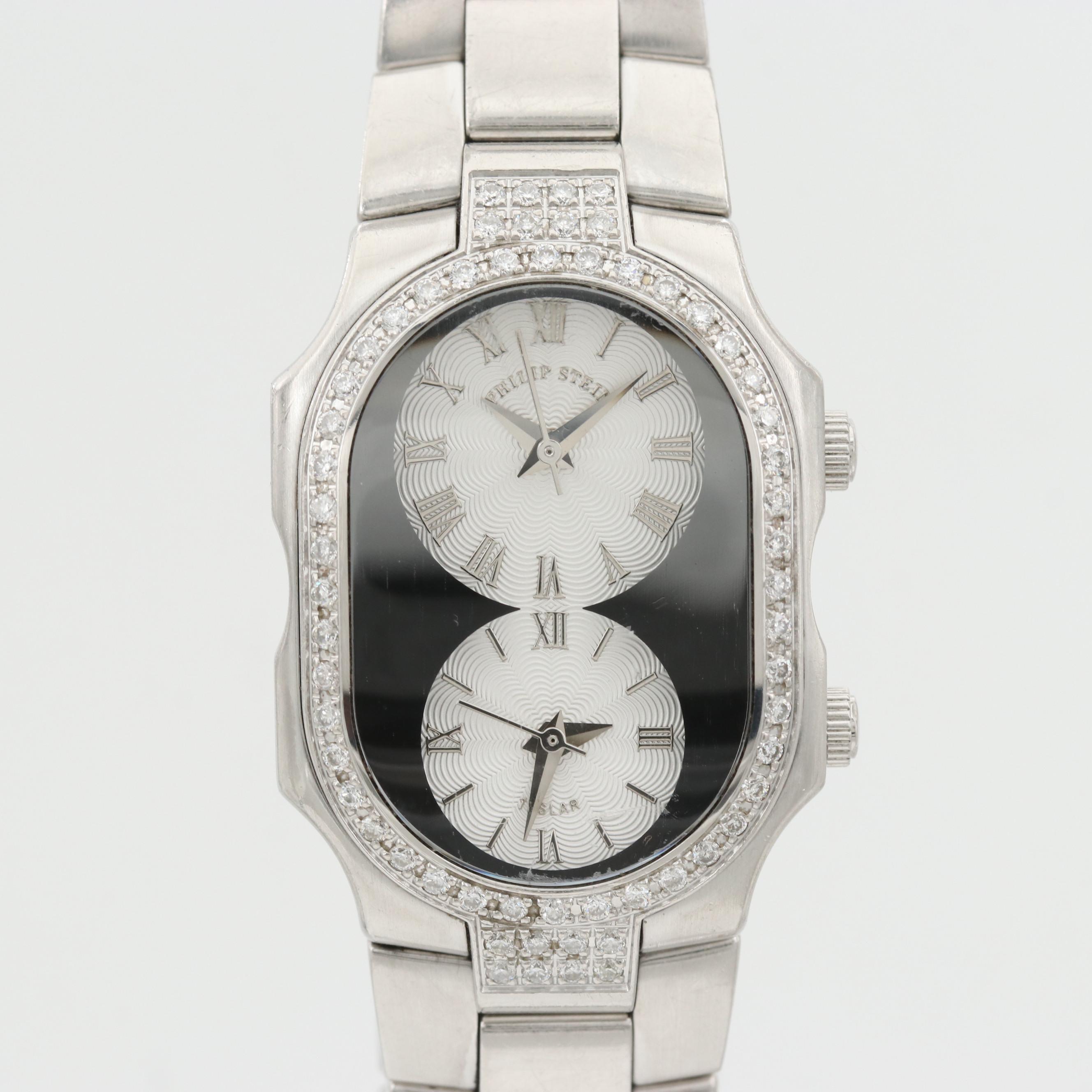 Philip Stein Teslar Dual Time 2.34 CTW Diamond and St. Steel Quartz Wristwatch