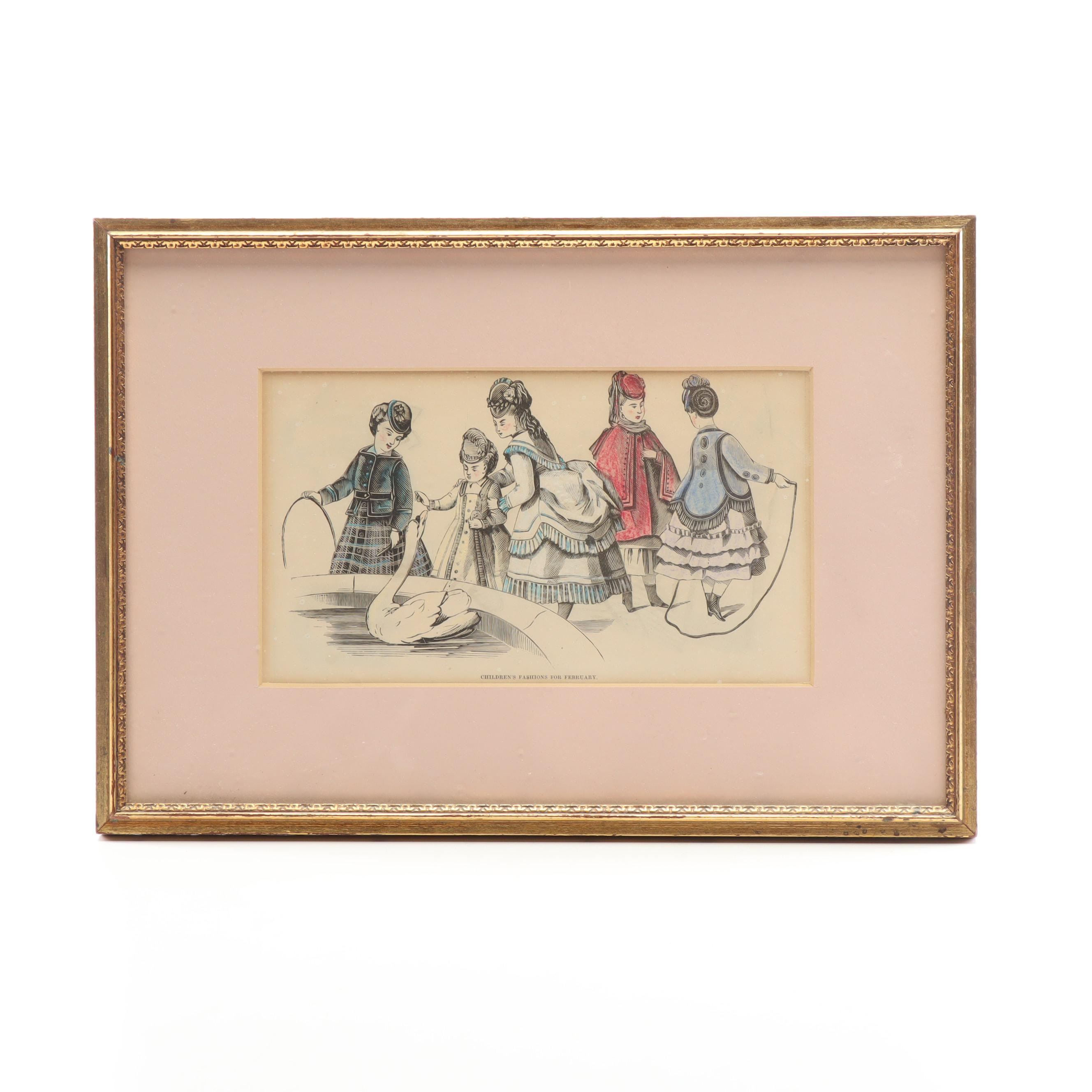 """Hand-Colored Woodblock """"Children's Fashions for February"""""""