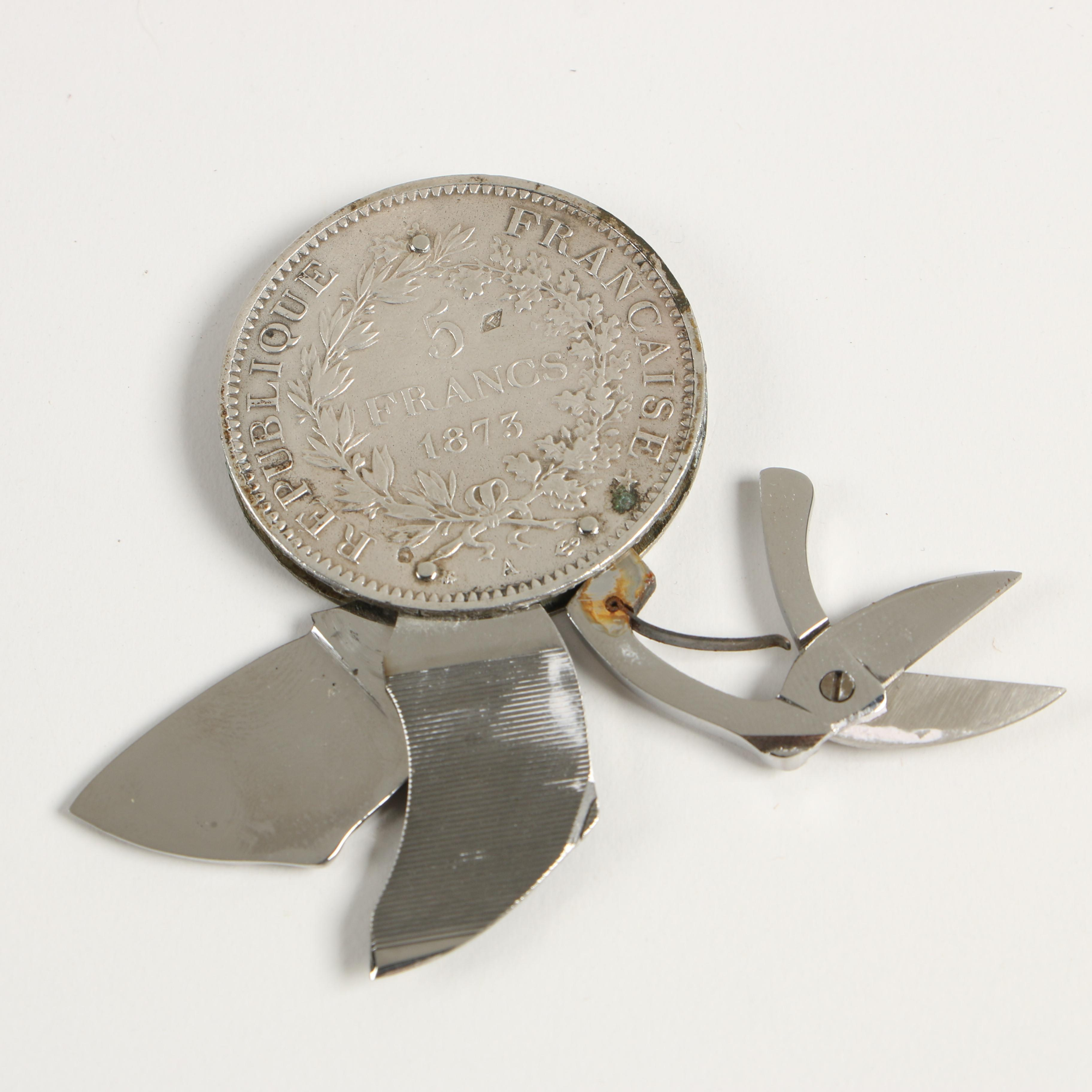 1873-A French 5 Francs Silver Coin Pocket Knife