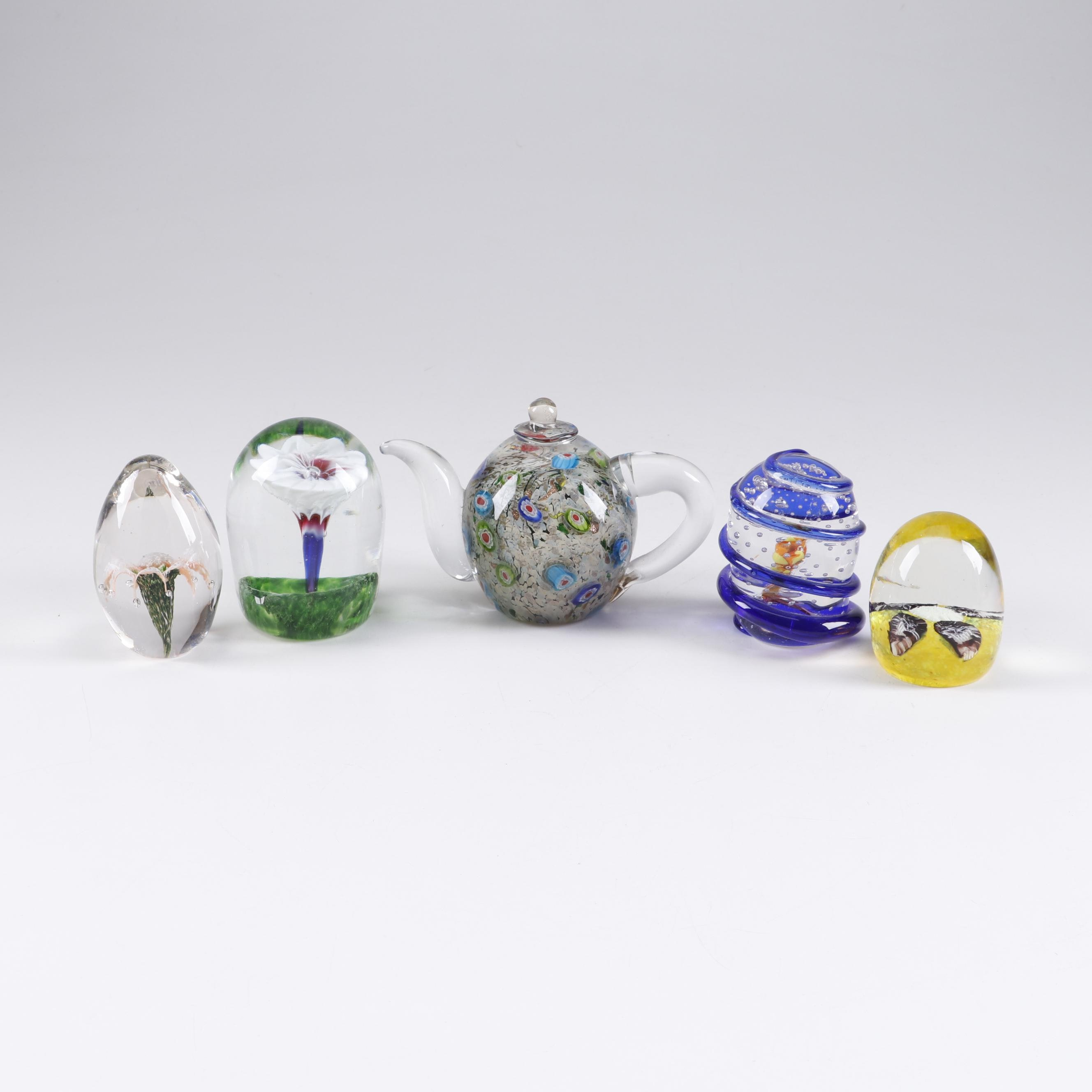 Art Glass Paperweights Featuring Murano, Dale Tiffany, and Titan