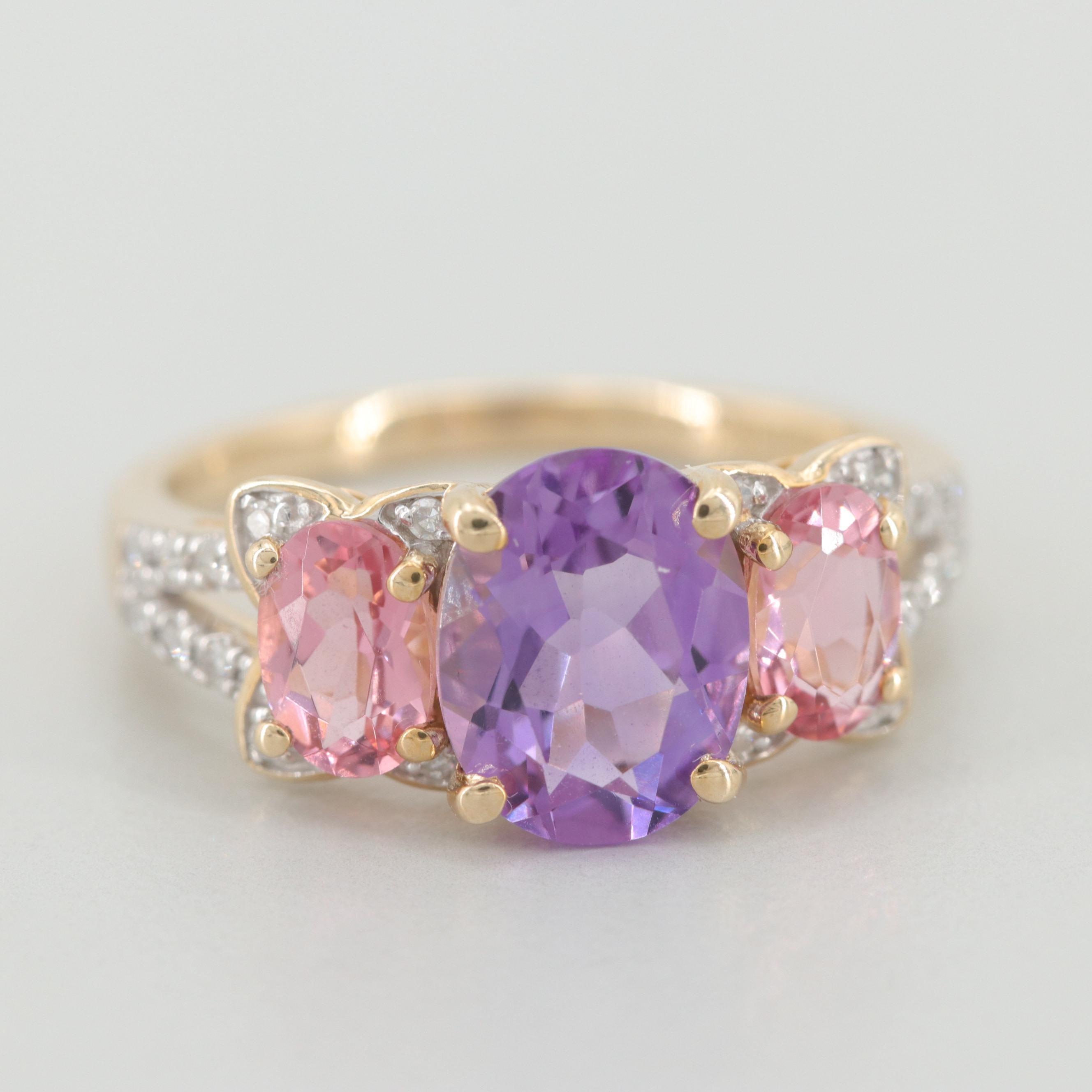 10K Yellow Gold Amethyst, Pink Tourmaline and Diamond Ring