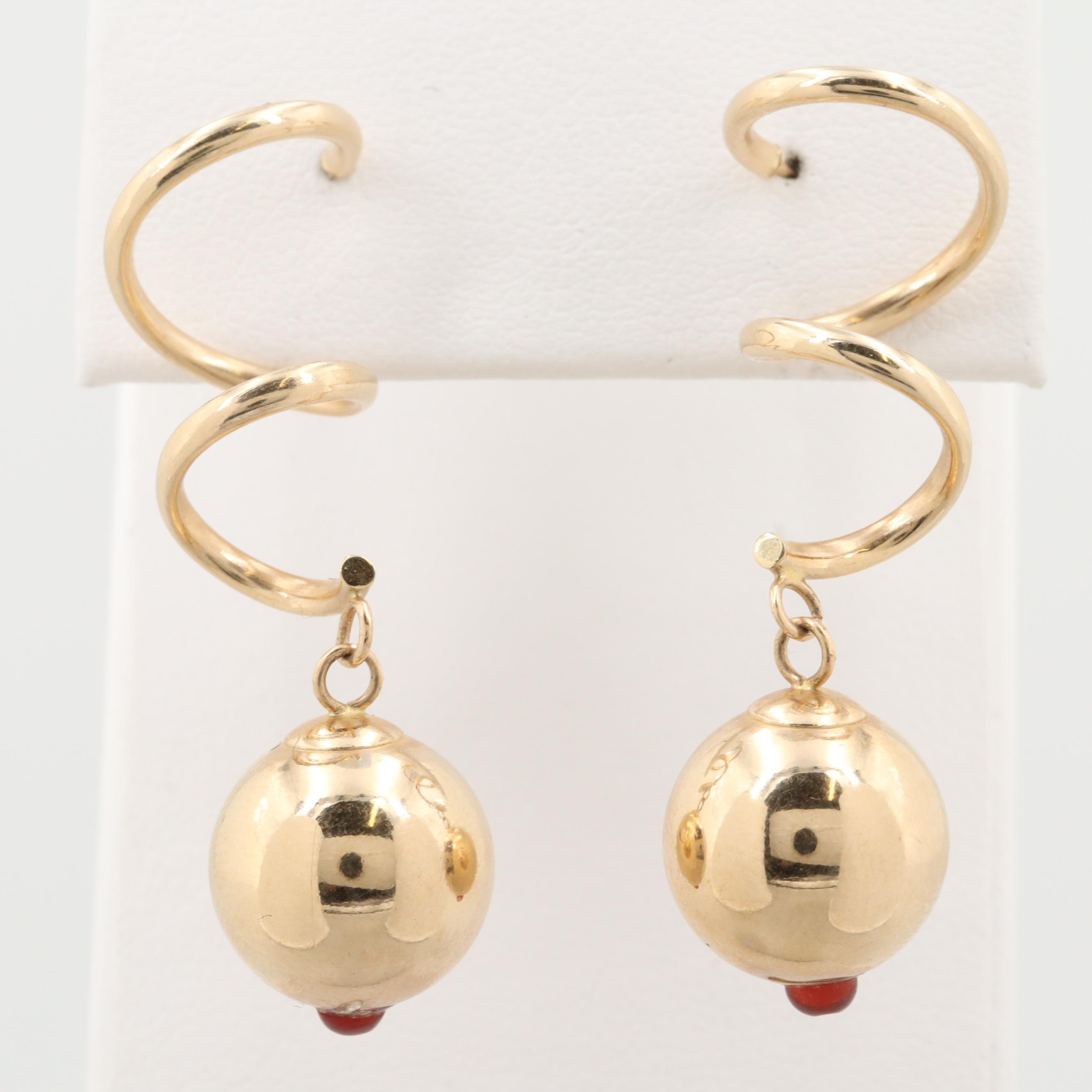 14K Yellow Gold Dangle Resin Earrings