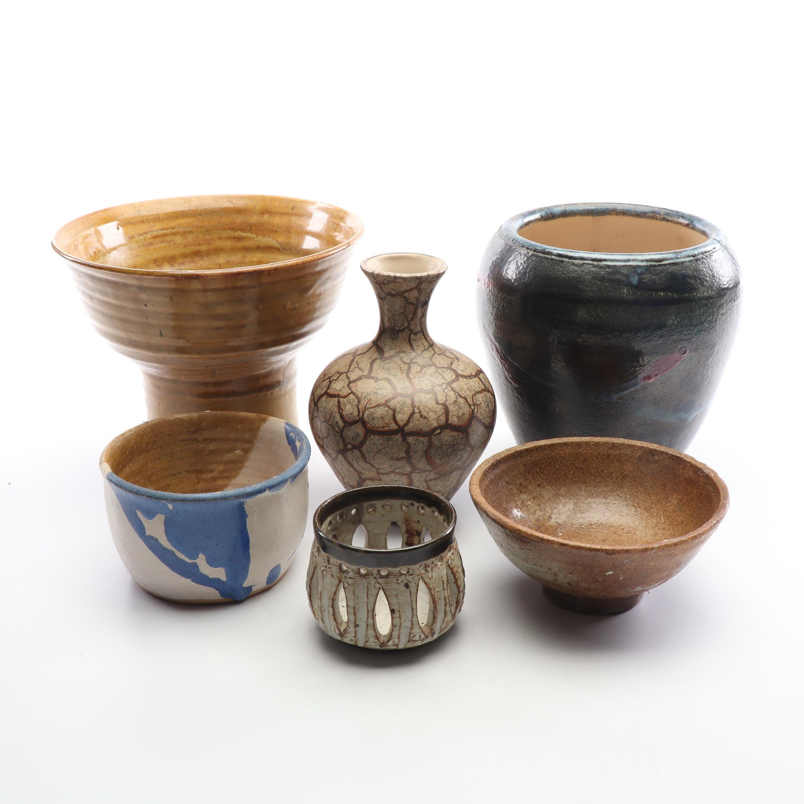 Wheel-Thrown Stoneware Vases and Haeger Vase