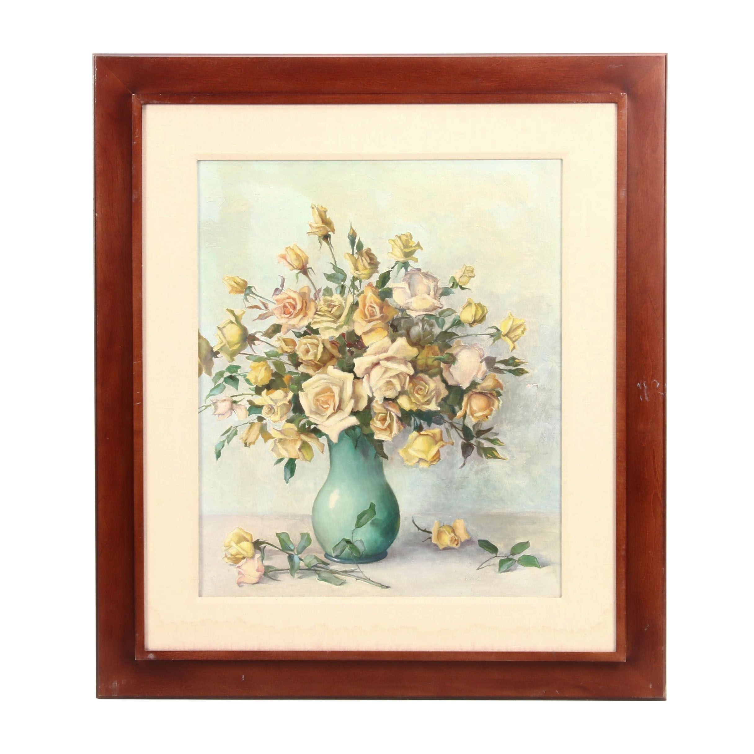 20th Century Oil Painting of Roses in Vase