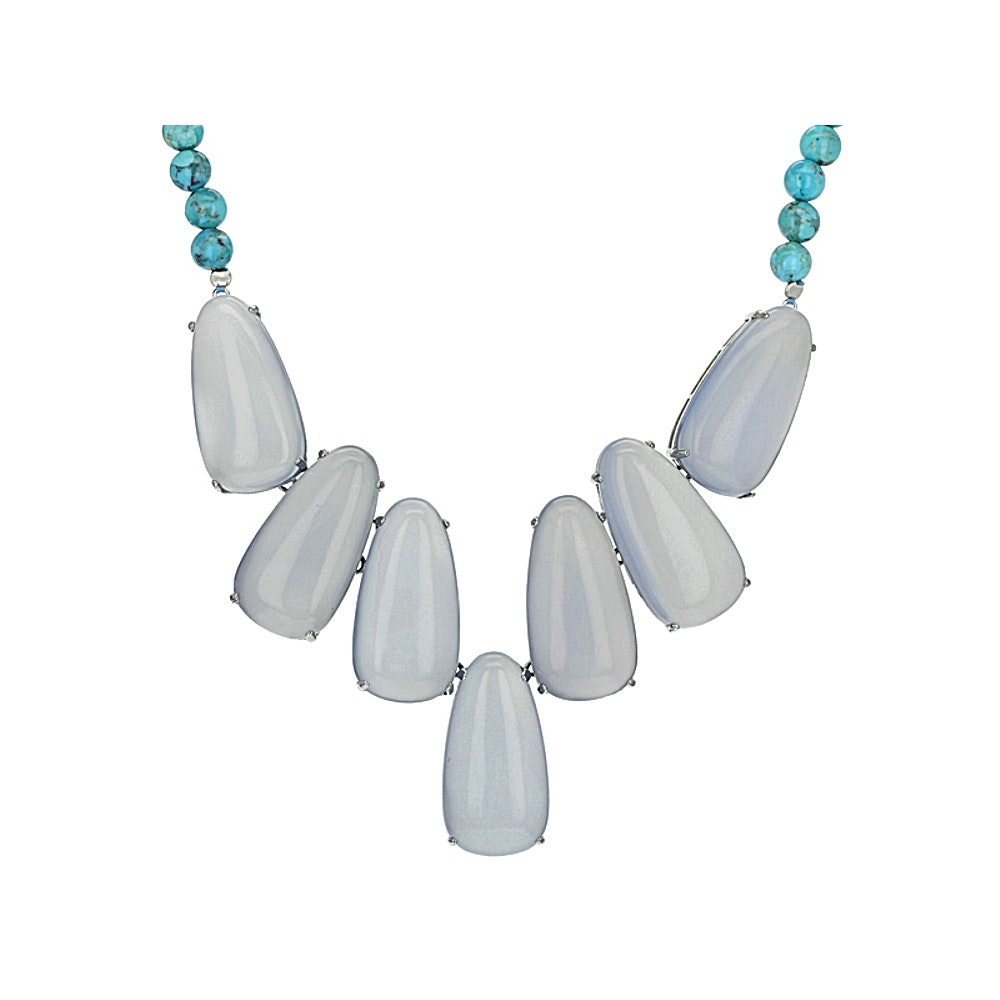 Sterling Silver Blue Chalcedony and Turquoise Necklace