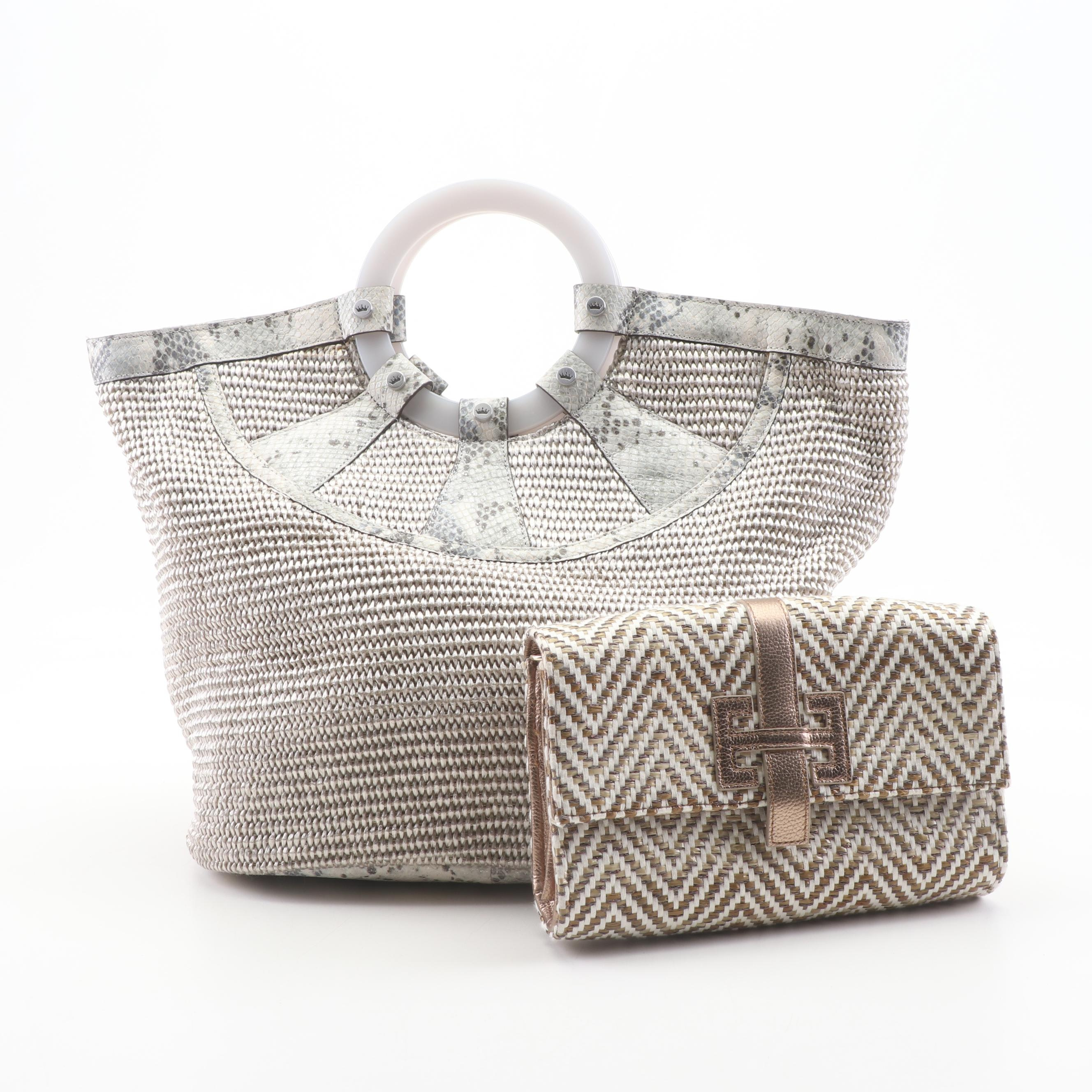 Elaine Turner Woven and Leather Top Handle Bag with Wallet