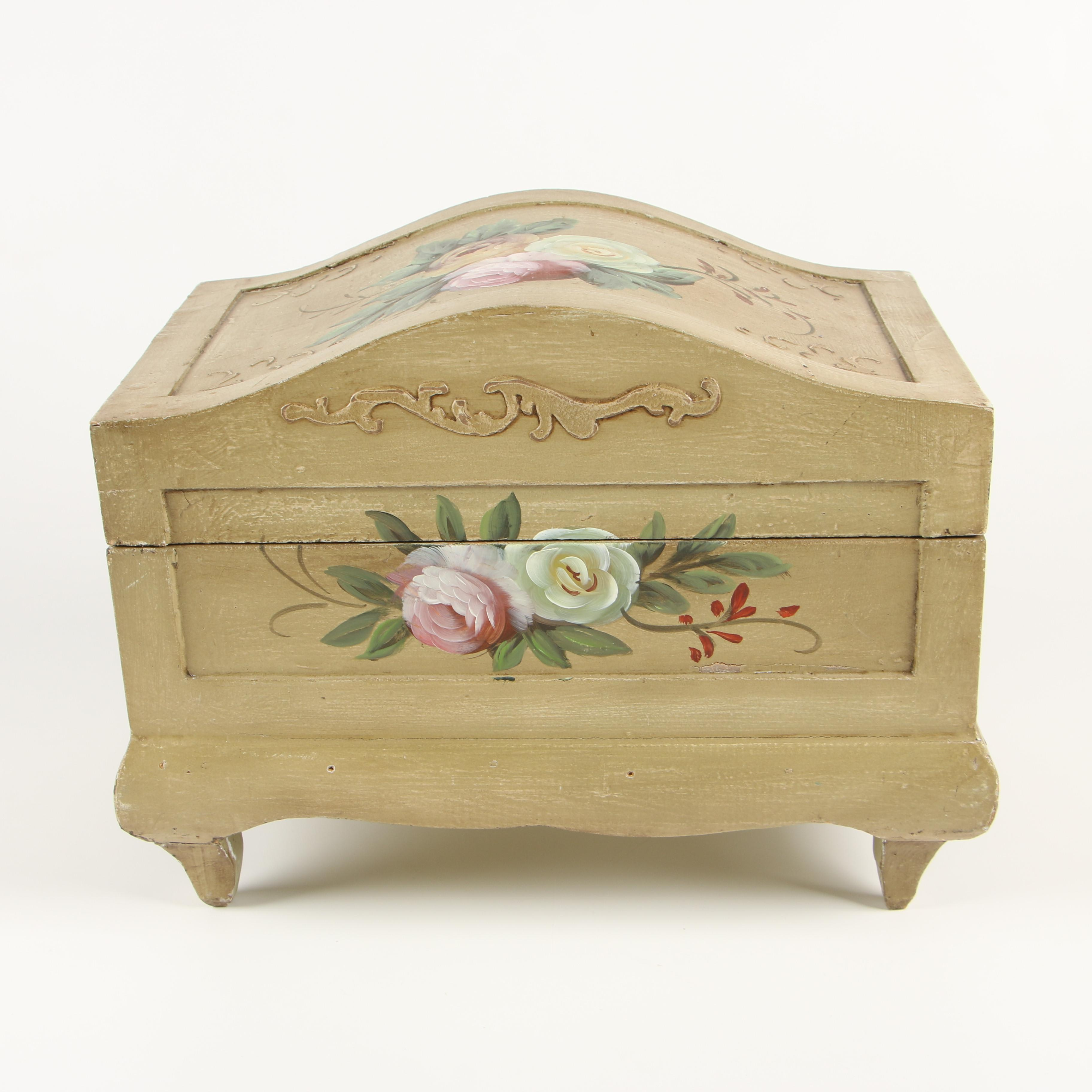 Hand-Painted Storage Chest, Contemporary