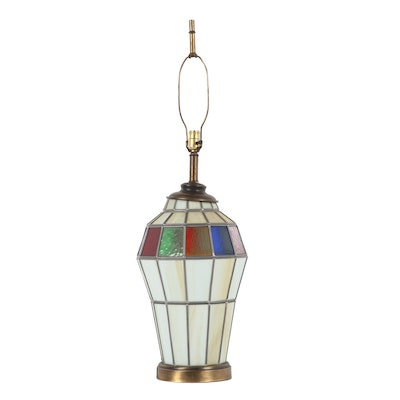 Large Stained Glass and Brass Table Lamp