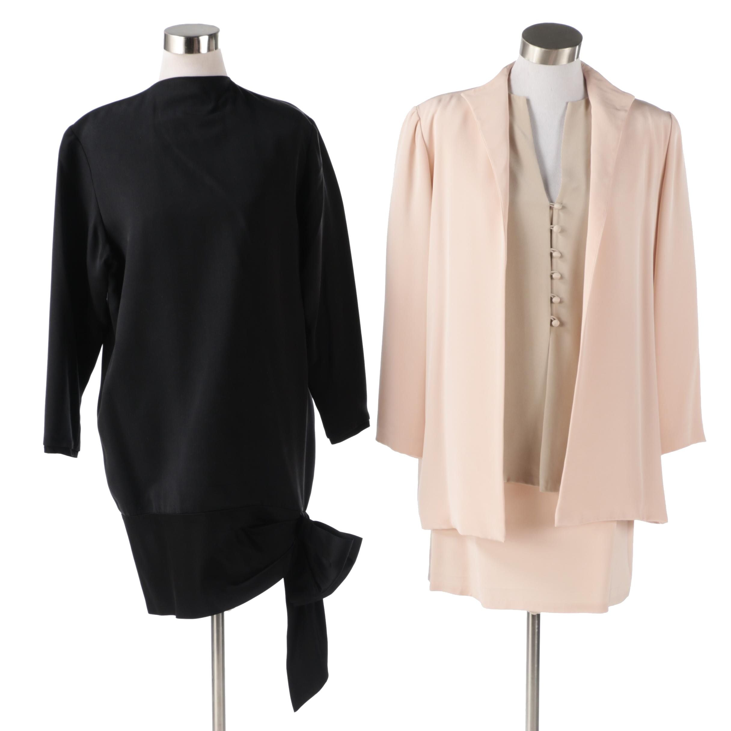 Mark Heister Silk Skirt Suit and Dress With Bow Accent