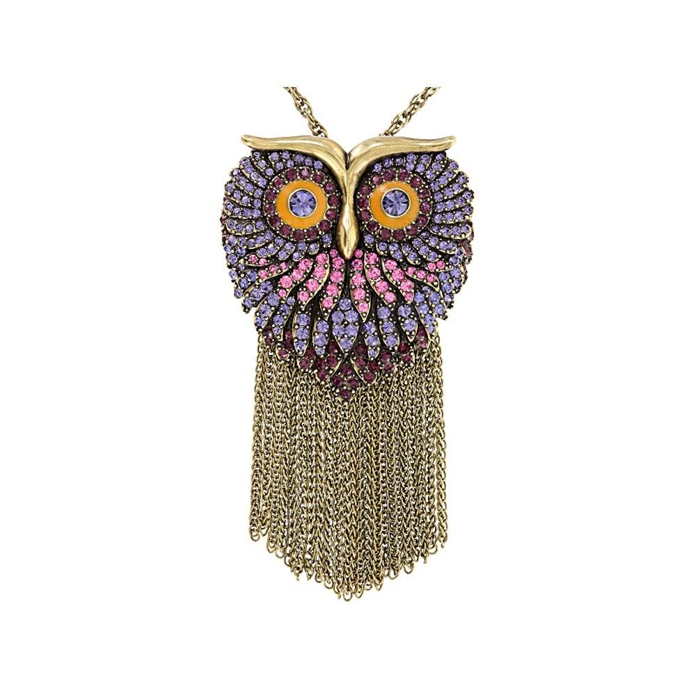 Gold Tone Glass and Enamel Owl Converter Pendant