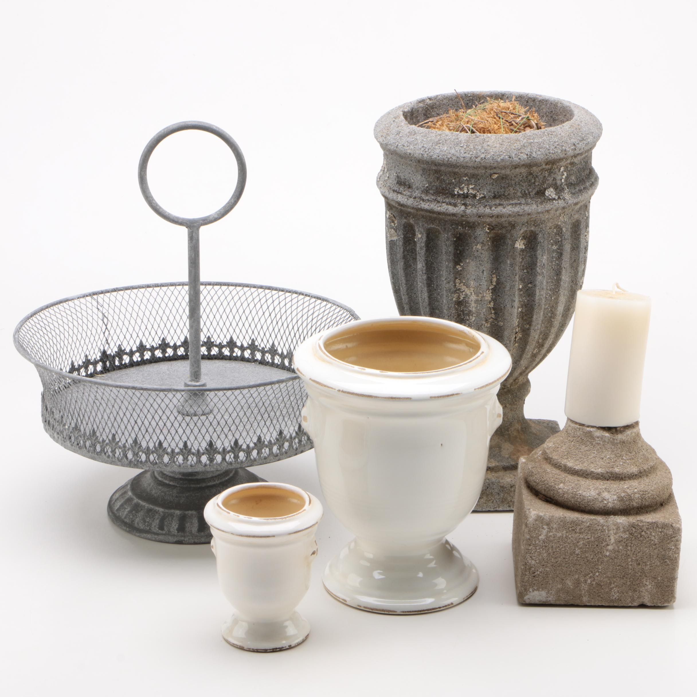 Stone and Ceramic Planters, Wire Pedestal Basket, and Stone Candle Holder