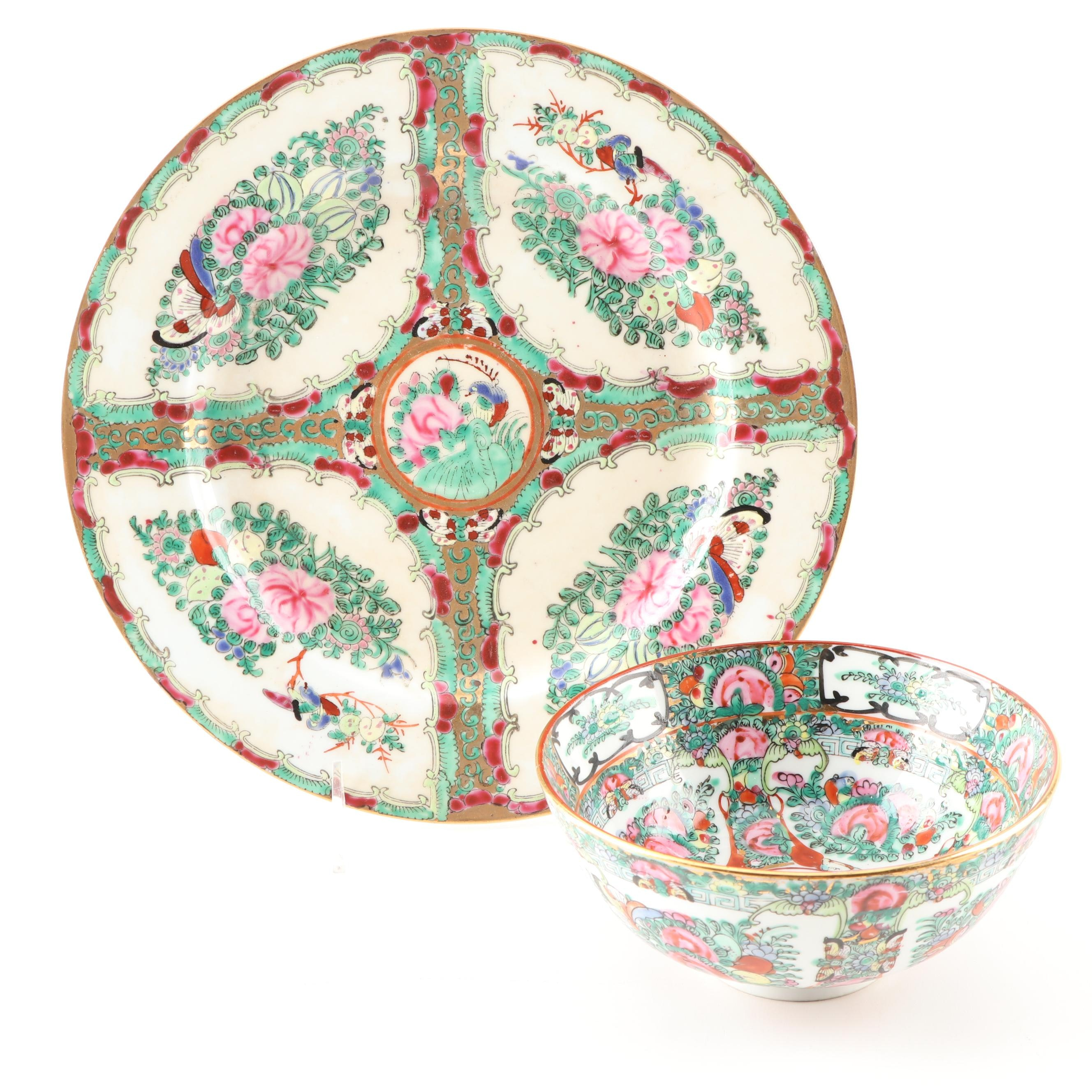 Japanese Hand-Painted Porcelain Plate and Bowl