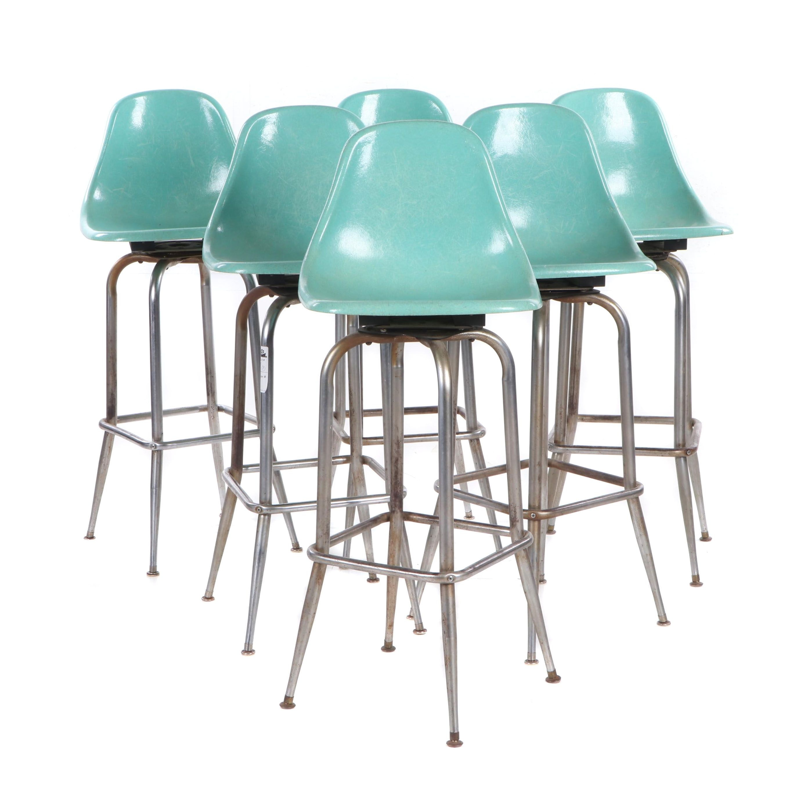 "Charles Eames Style Fiberglass ""Shell"" Swivel Counter Stools, Mid-20th Century"