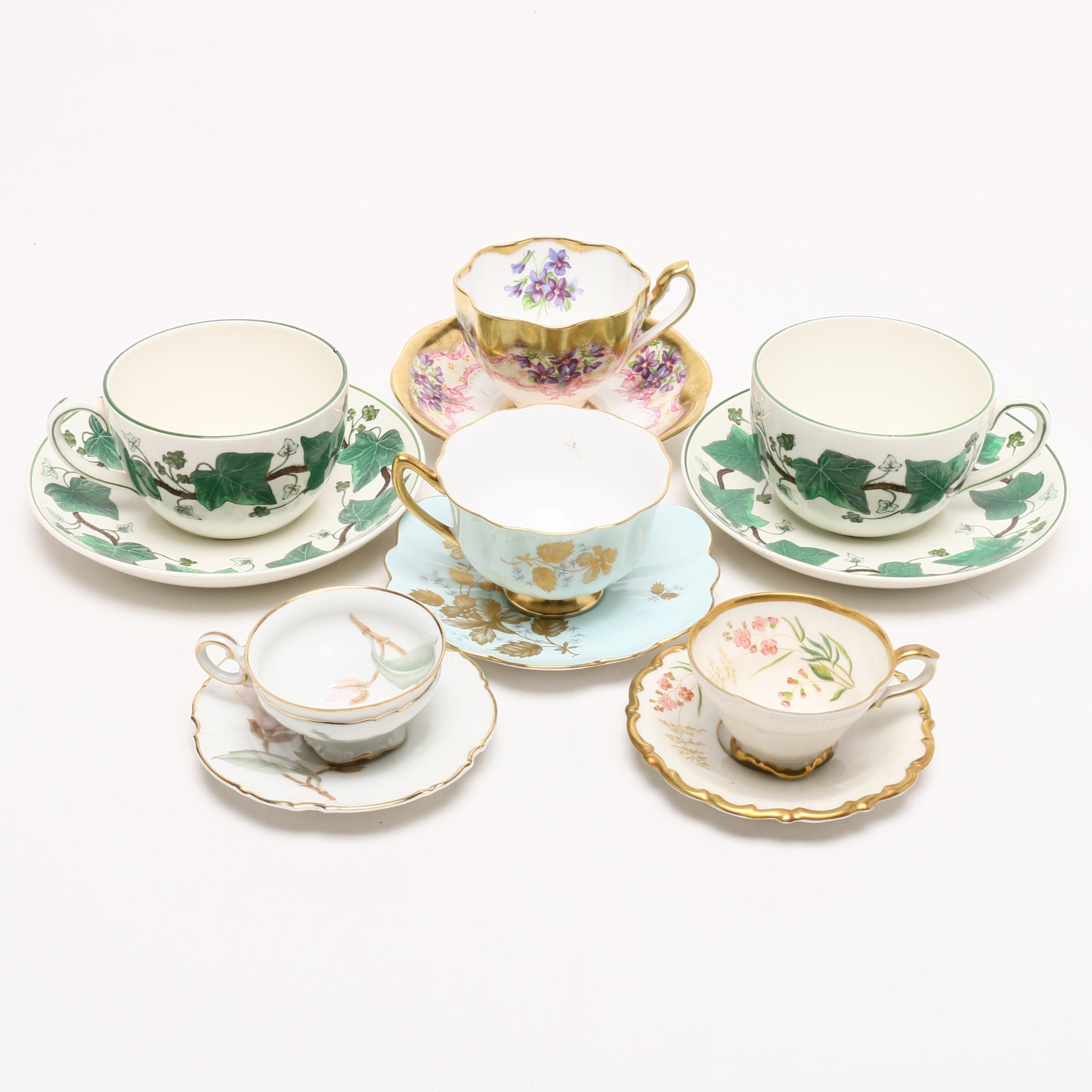 Wedgwood, Shelly, Queen Anne, Linder, and Hutschenreuther Teacups and Saucers