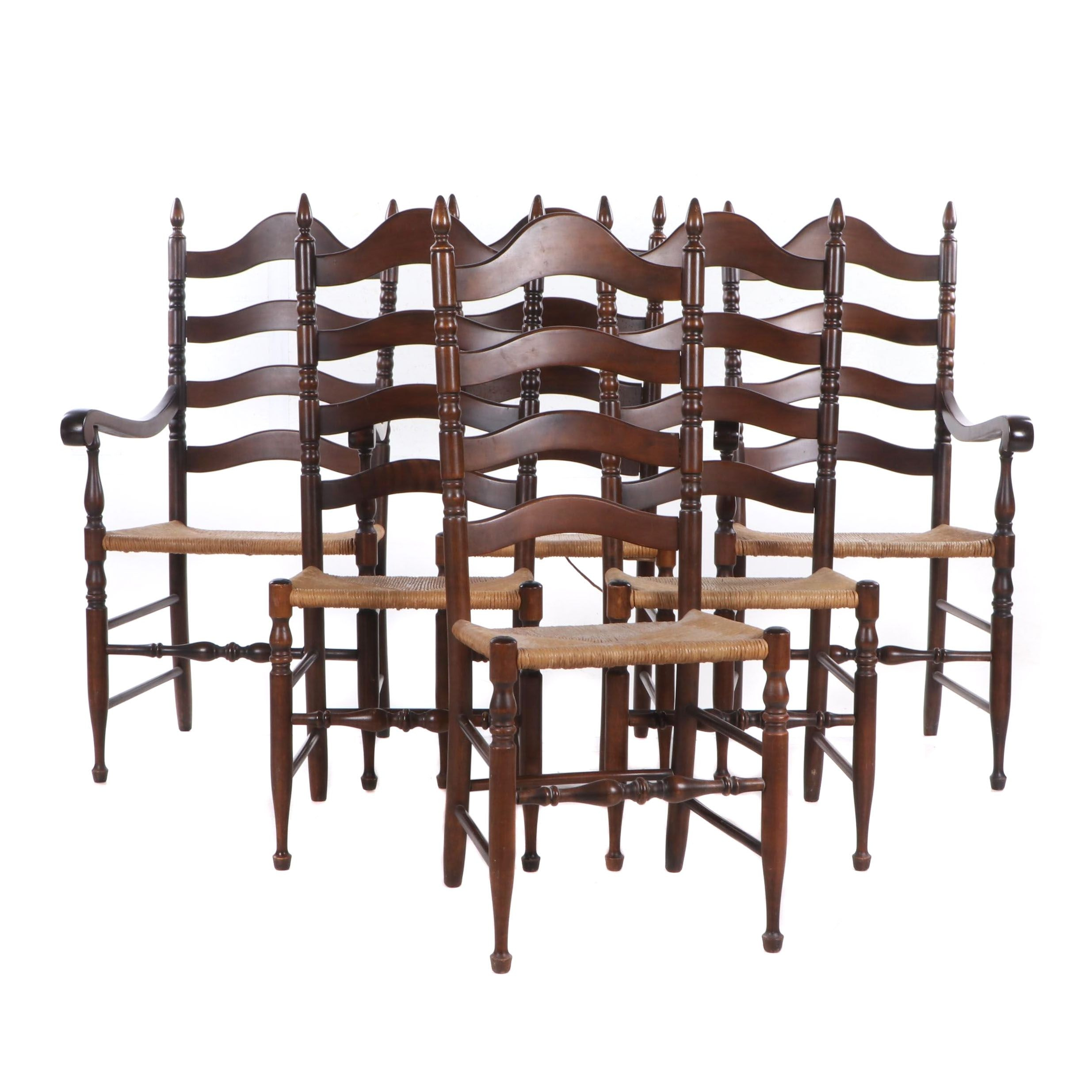 Mid-20th Century Turned Maple Rush Seat Ladder Back Dining Chairs
