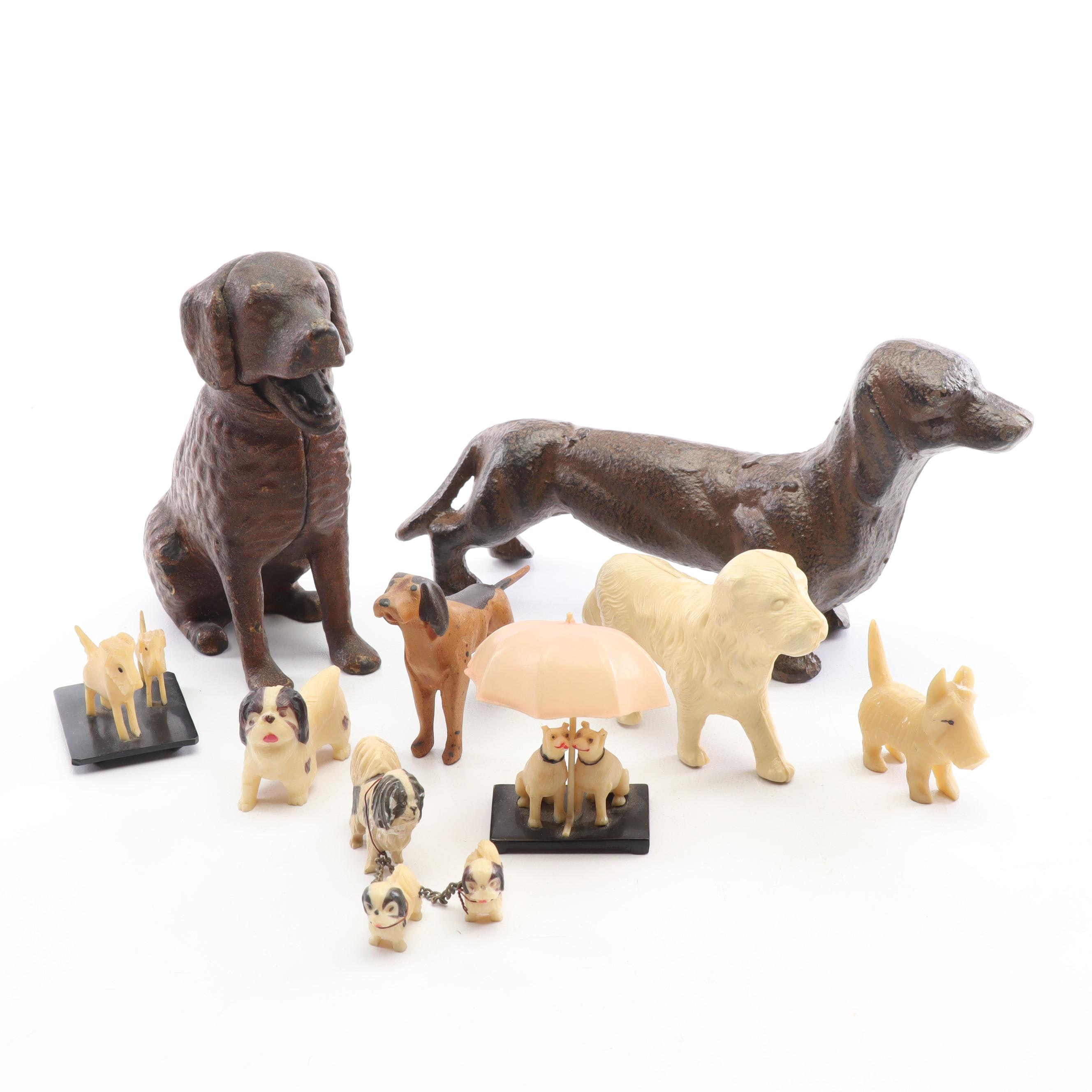 Vintage Cast Iron and Plastic Dogs