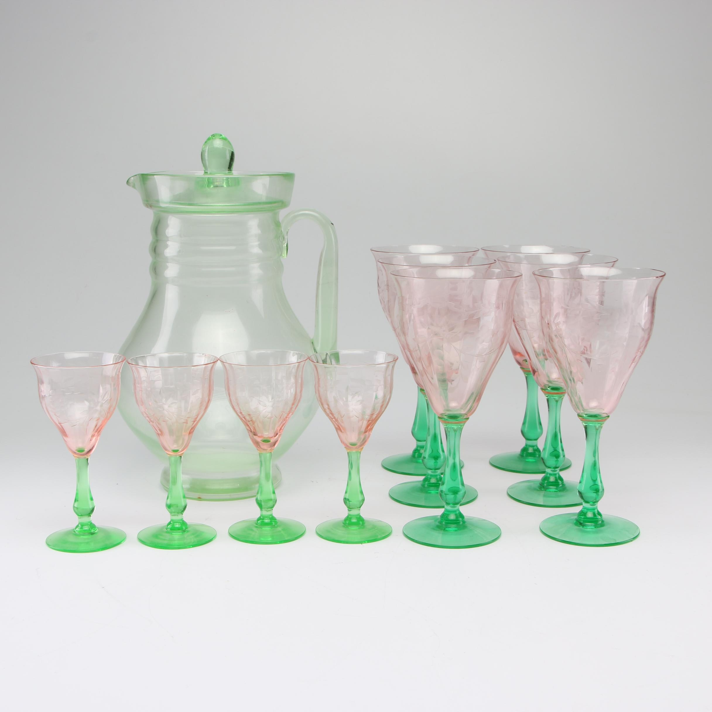 Depression Glass Etched Stemware with Pitcher