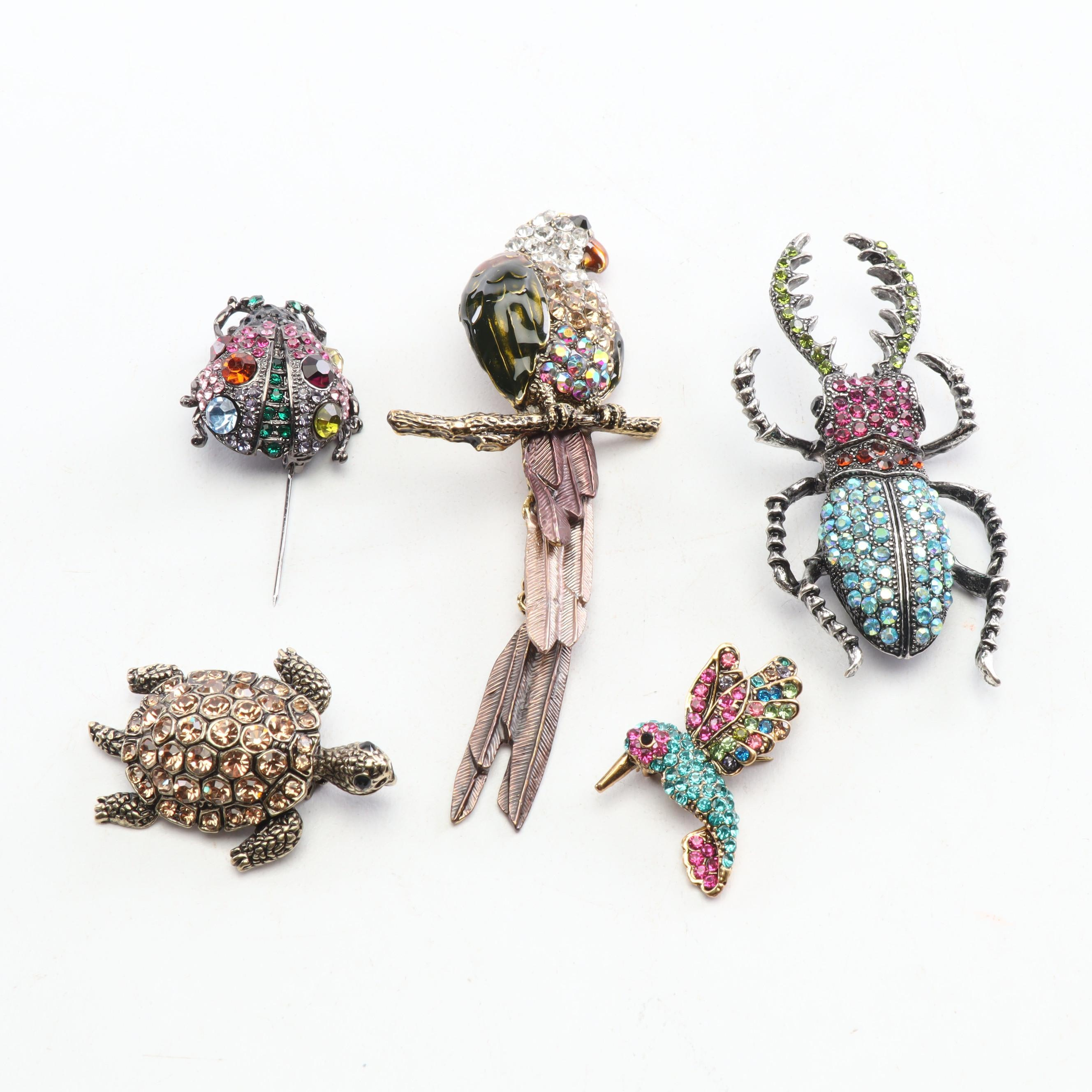 Animal and Insect Shaped Rhinestone Brooches