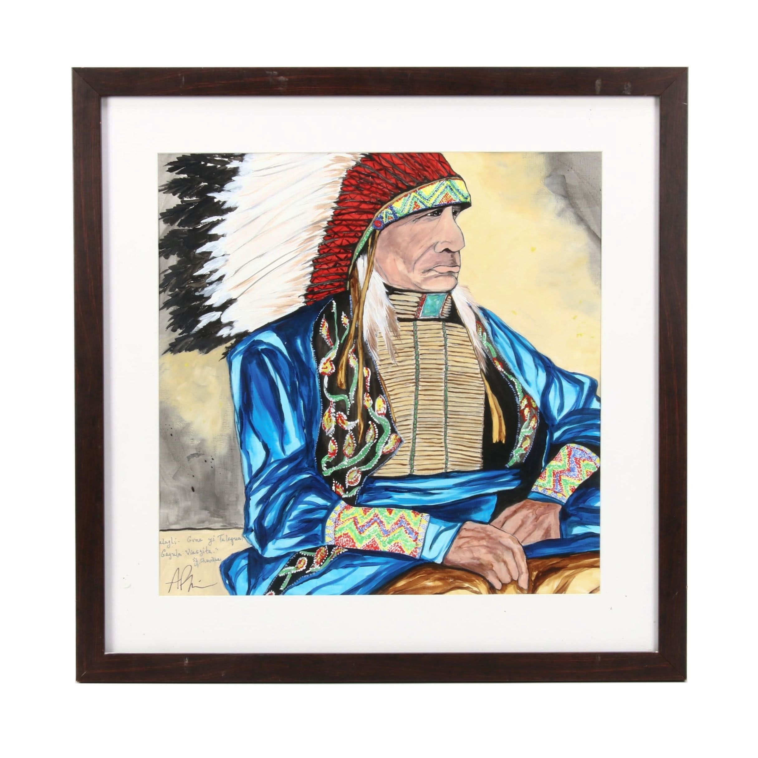 Angela Phipps Acrylic Painting of Stylized Native American