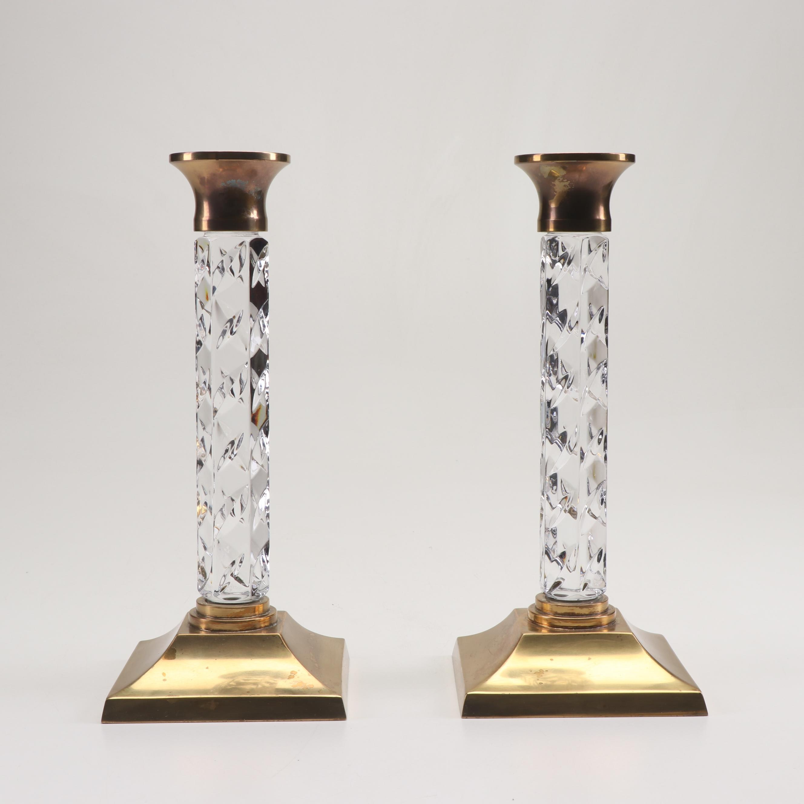 "Waterford ""Cambridge"" Crystal and Brass Candlesticks"