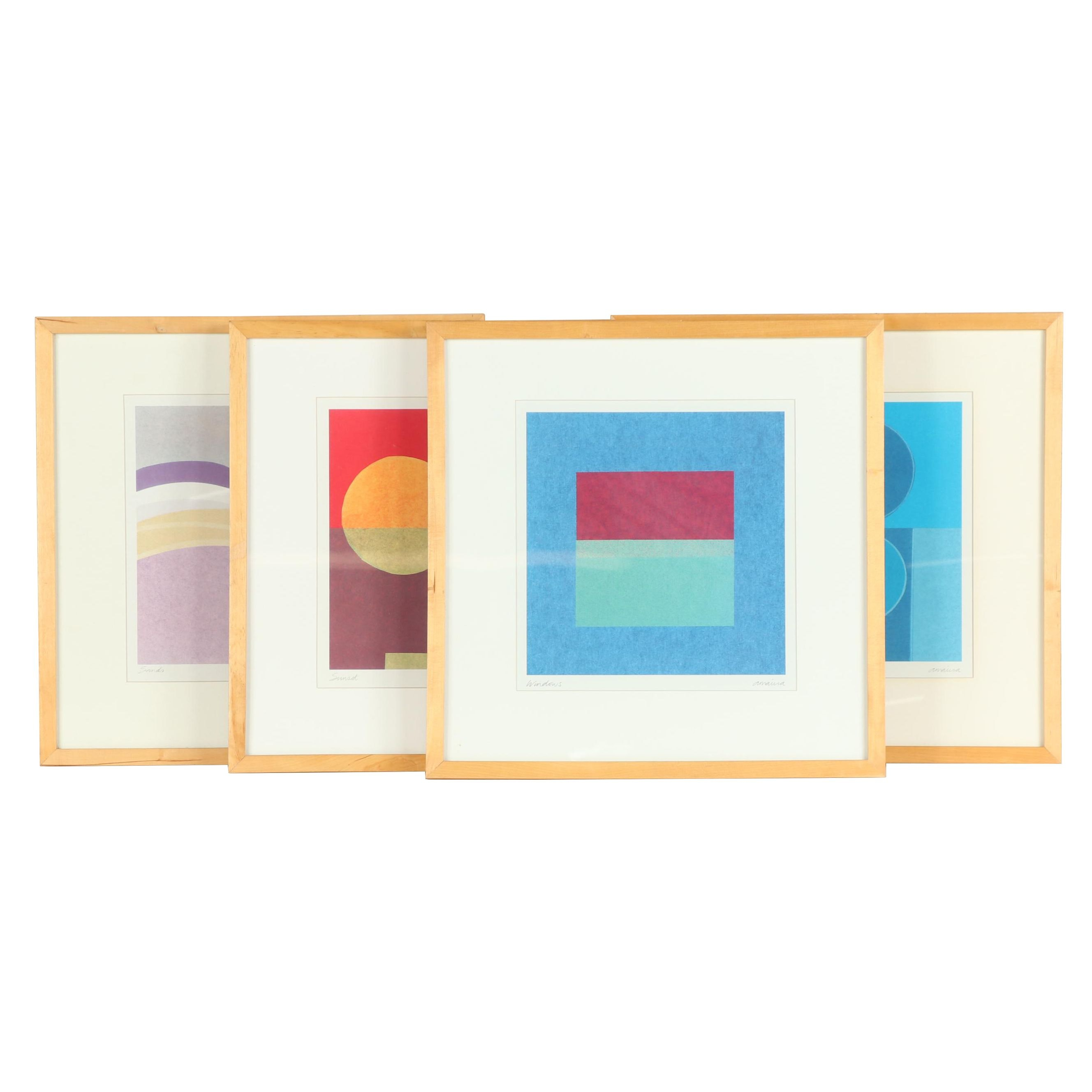 Abstract Geometric Offset Lithographs after Amaina