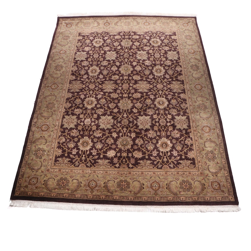 "Hand-Knotted Stickley ""Indo Mougal Eggplant"" Wool Room Sized Rug"