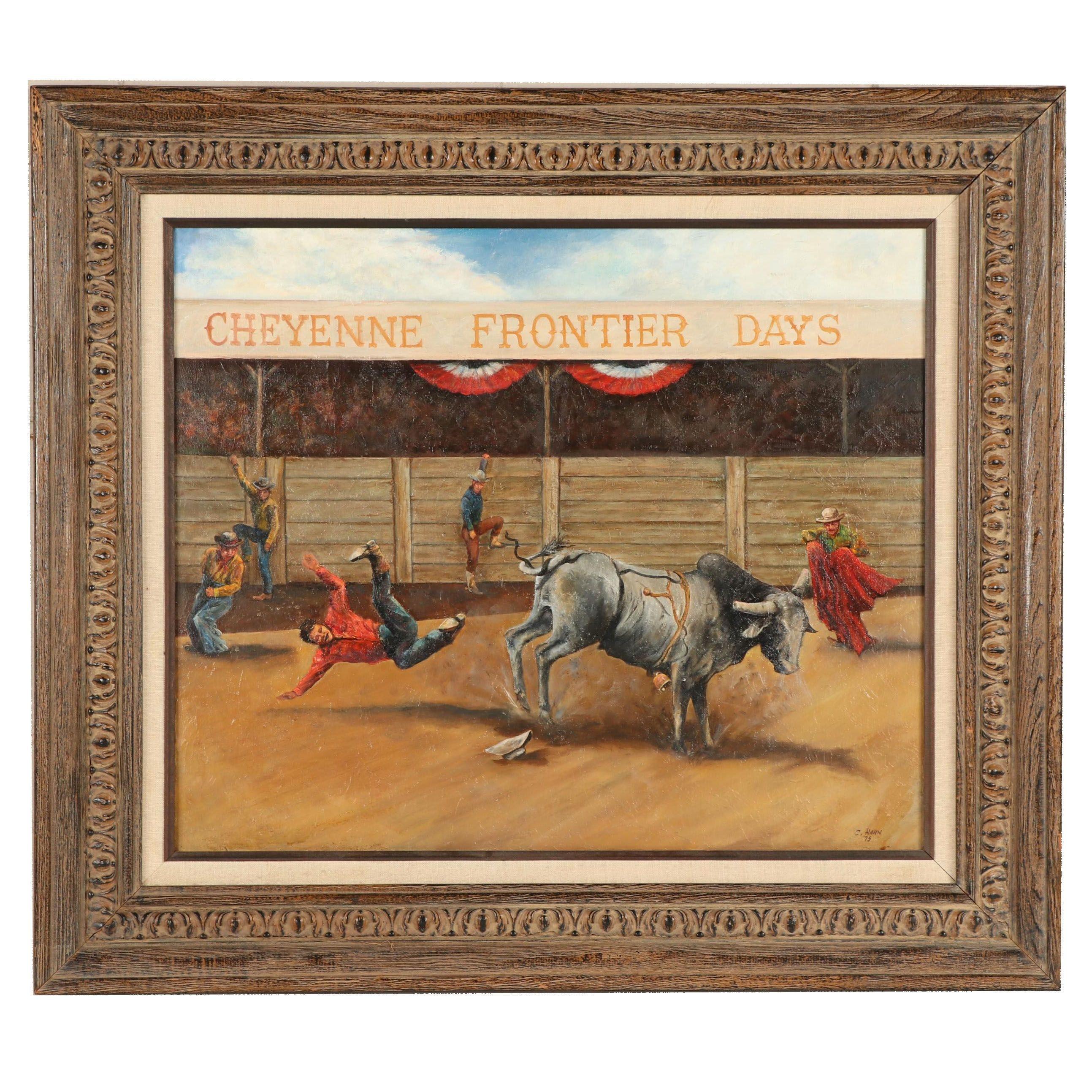 "C. Hahn Oil Painting ""Cheyenne Frontier Days"""