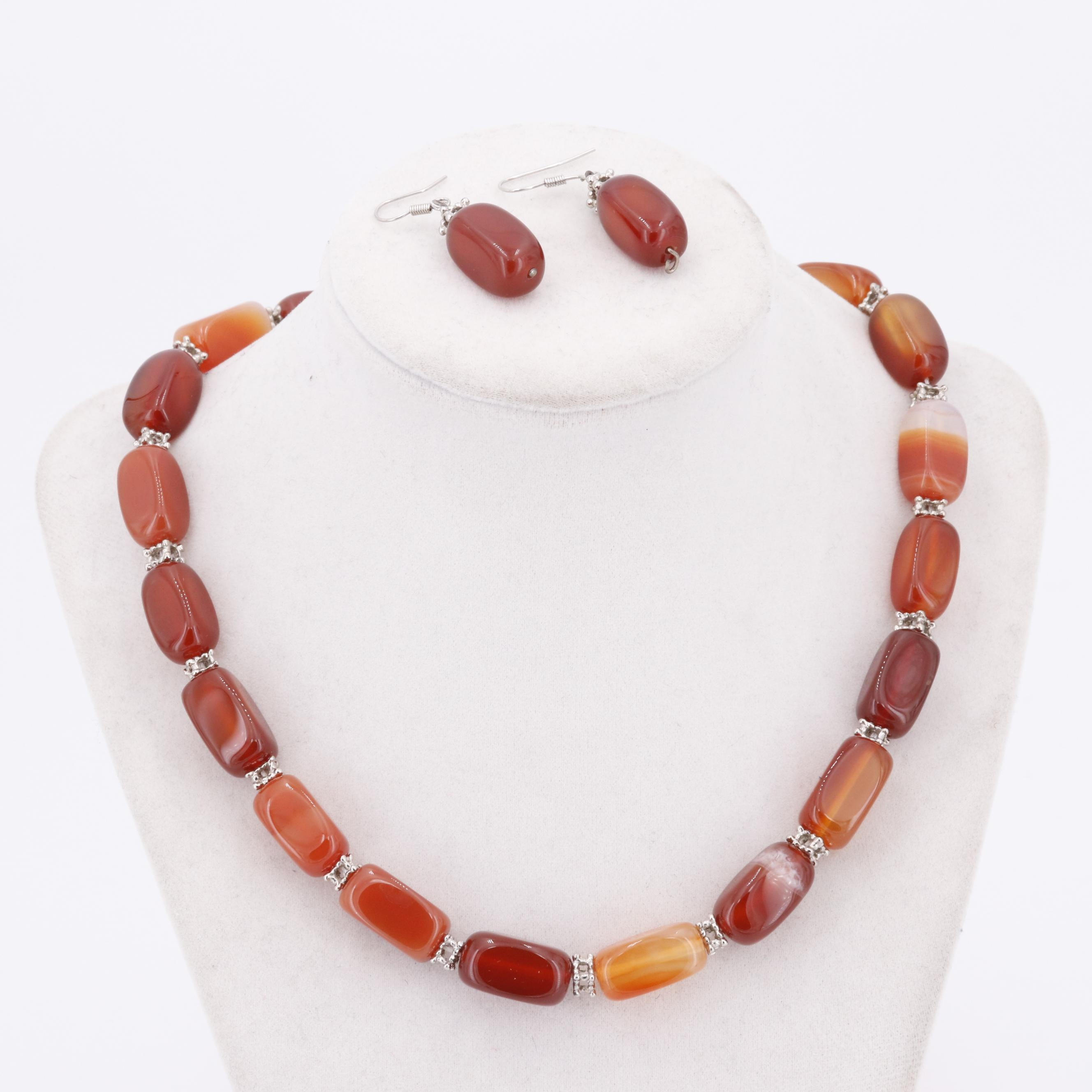 Sterling Silver Amber Bead Demi-Parure