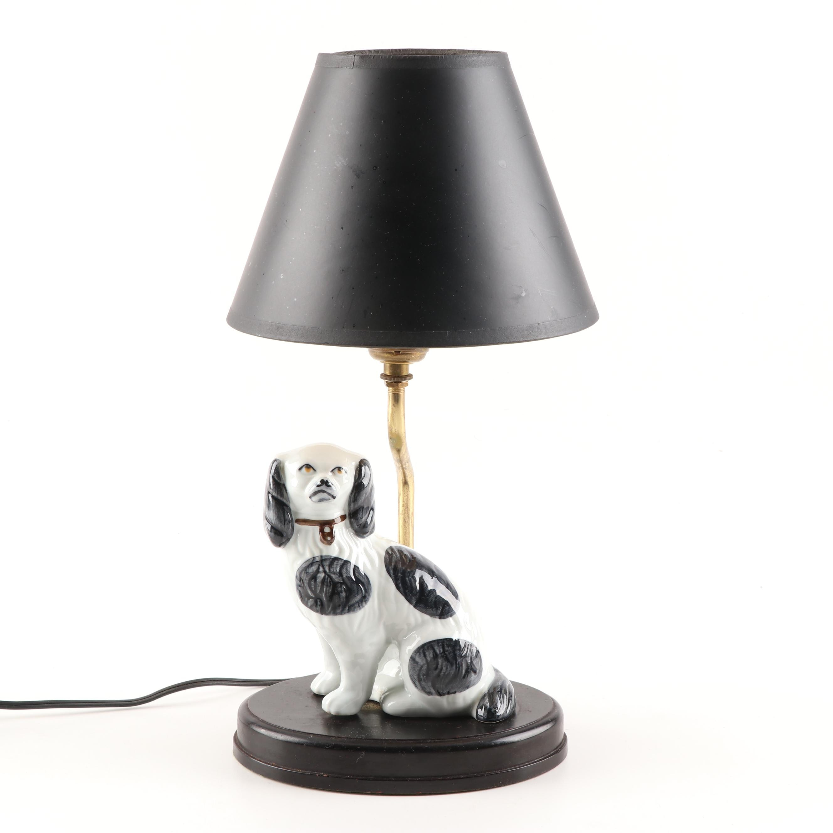 Staffordshire Style Spaniel Figural Table Lamp