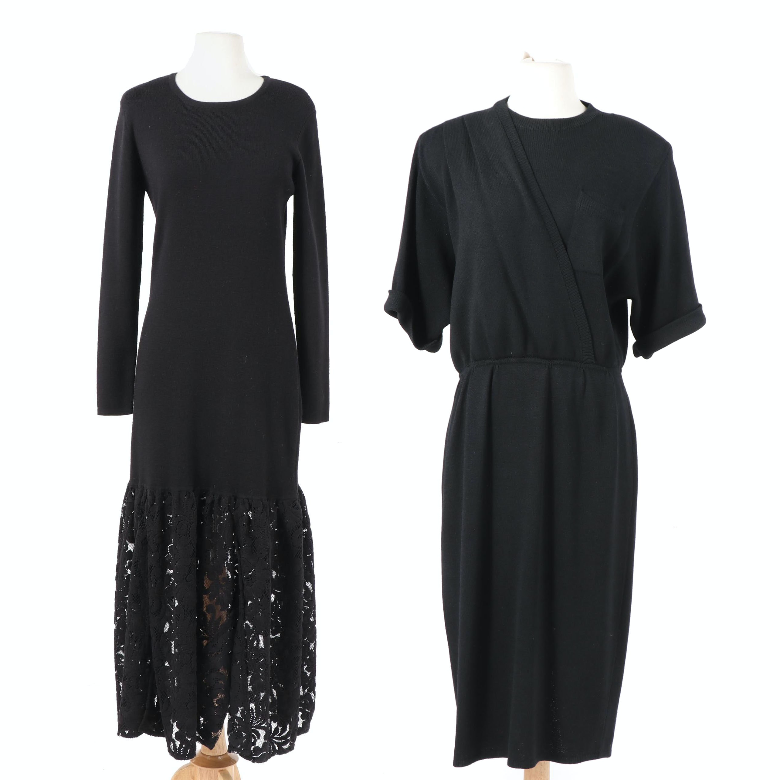 Adrienne Vittadini Black Wool Blend Lace Dress and 1970s St. John Wrap Dress