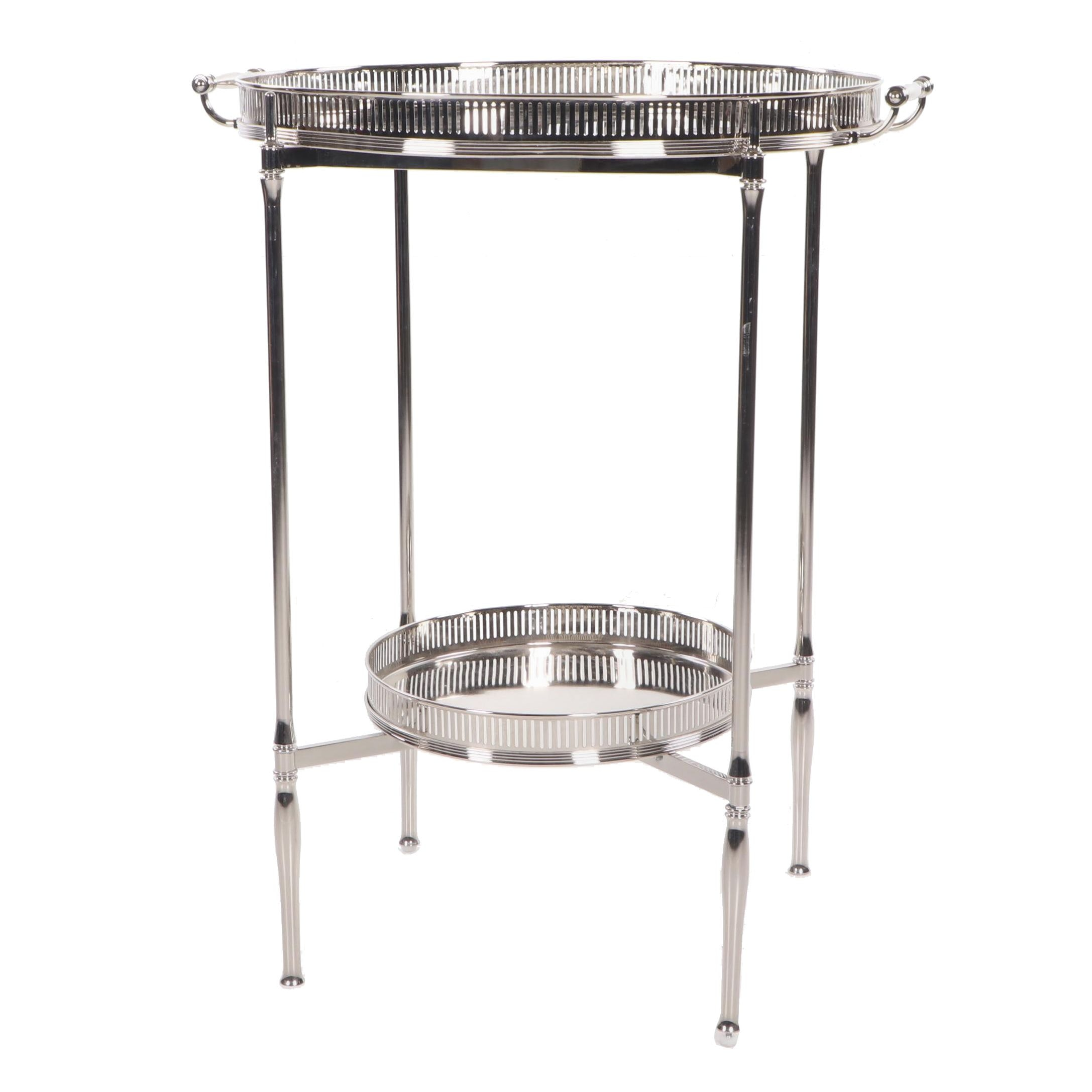 Mirrored Tiered Tray Table, Contemporary
