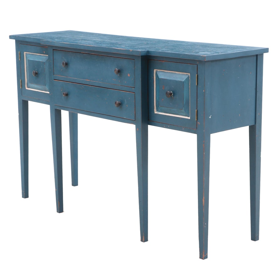 Hepplewhite Style Painted Breakfront Sideboard, Late 20th Century