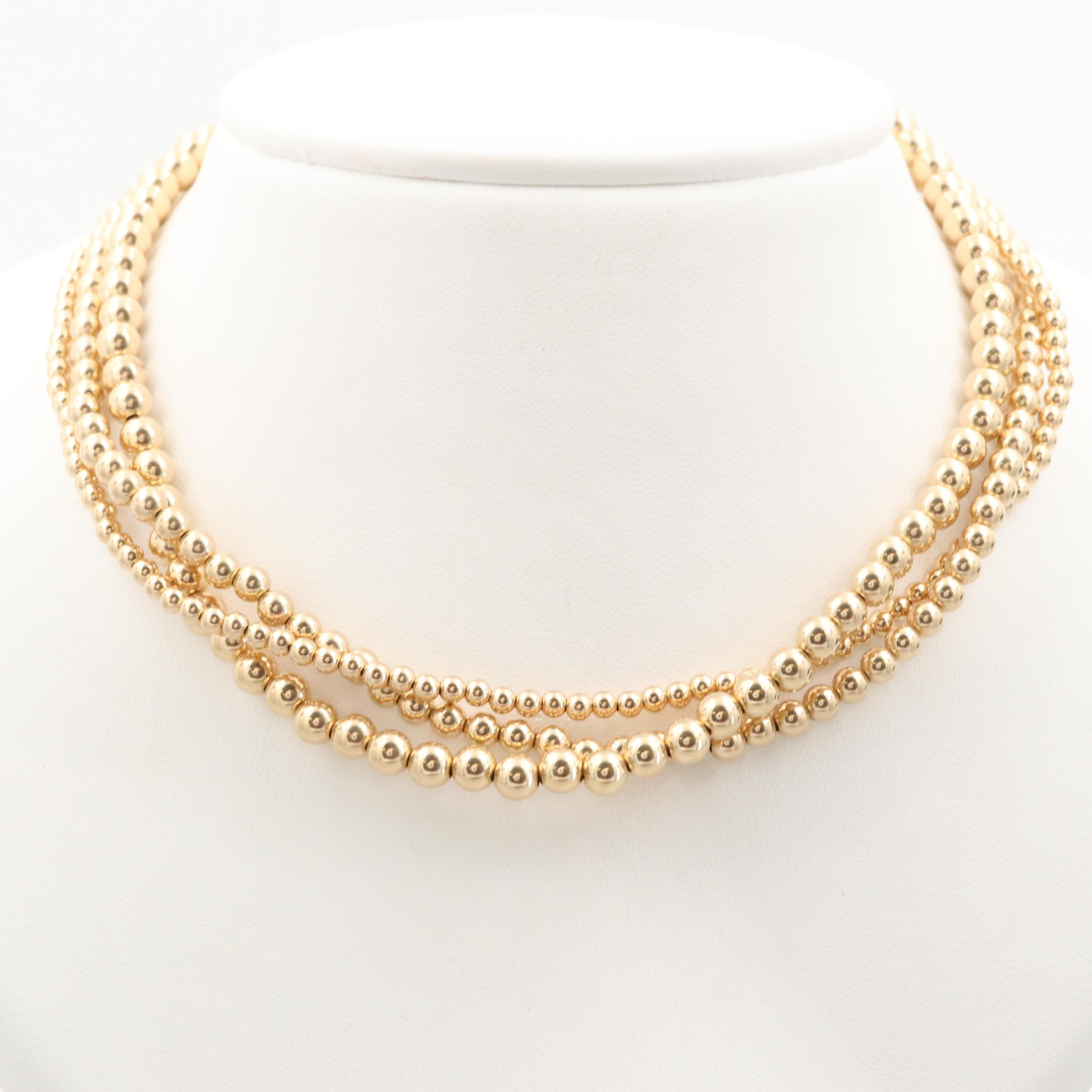 14K Yellow Gold Triple Strand Necklace