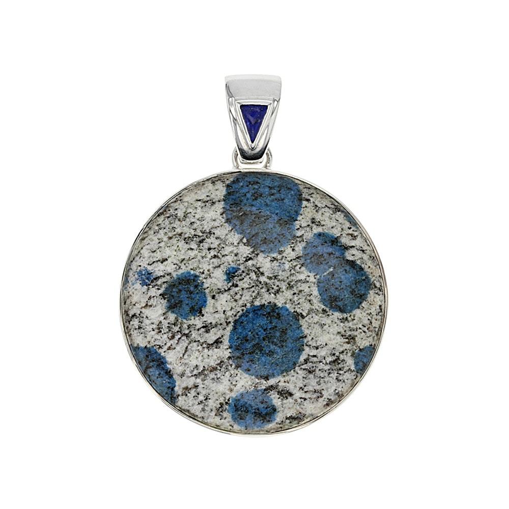 Sterling Silver Azurite in Granite and Lapis Lazuli Pendant