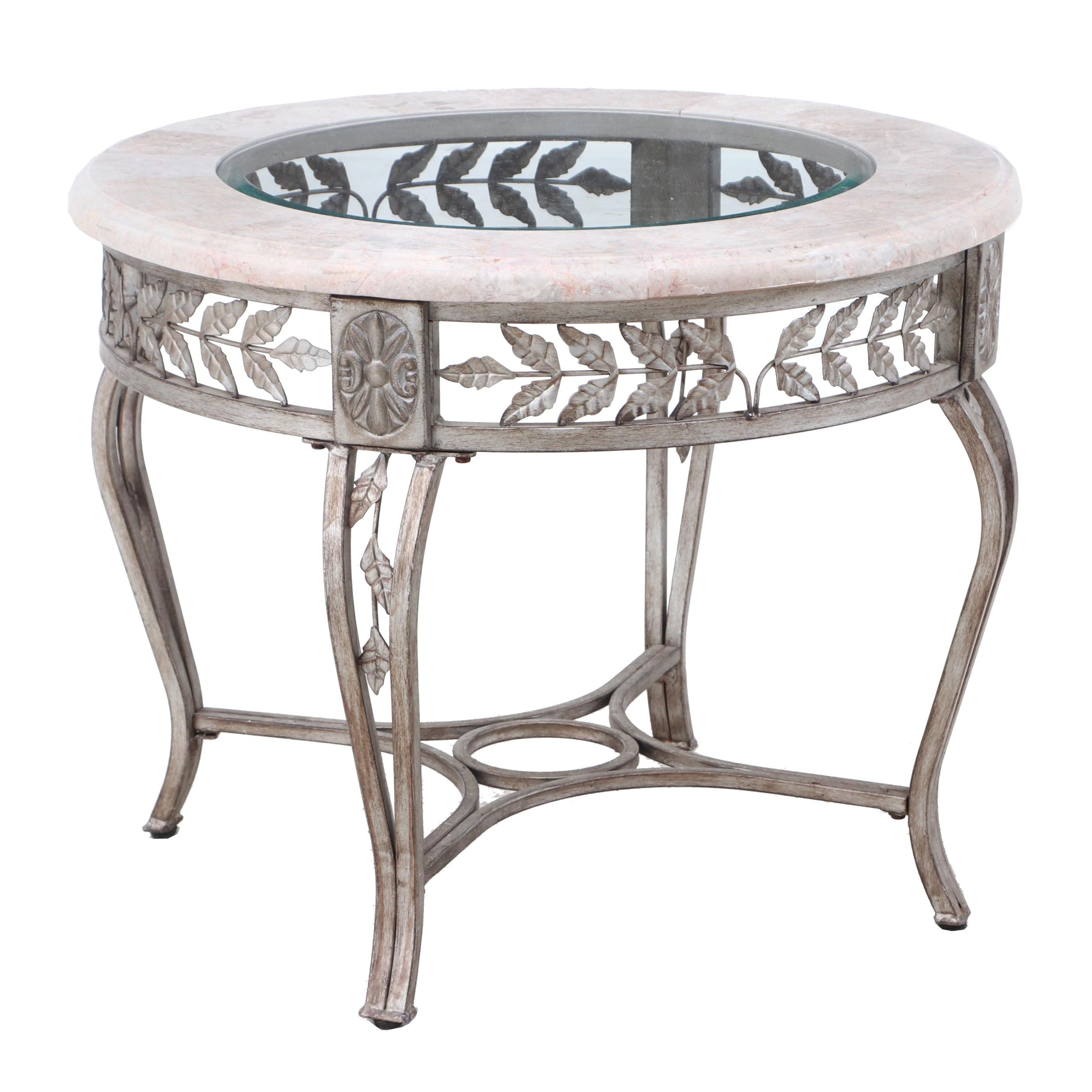 Contemporary Marble and Glass Top Side Table