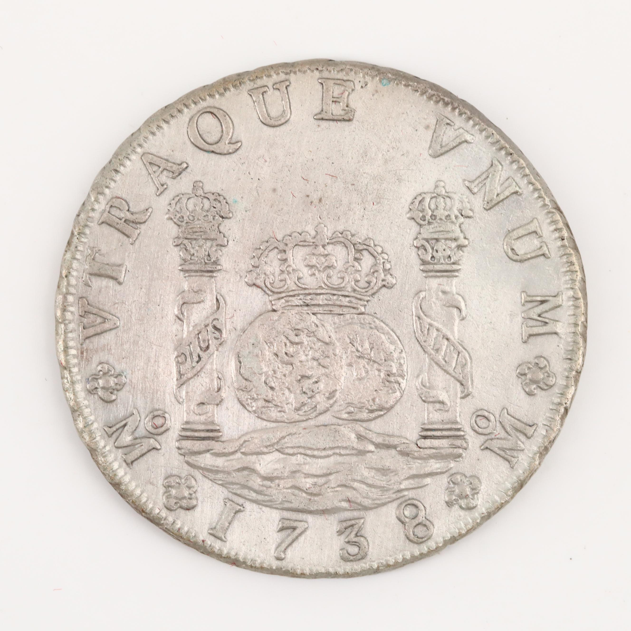 "1738 Silver 8-Reales Mexican Colonial ""Pillar Dollar"" of Felipe V"