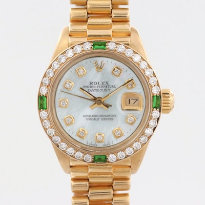 Vintage Rolex Datejust 18K Gold Watch With Diamond and Green Glass Accents, 1979