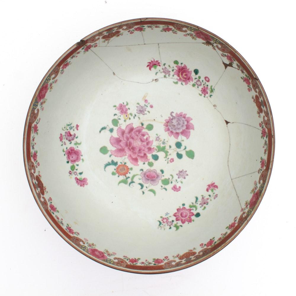 Chinese Export Porcelain Famille Rose Enameled Punch Bowl