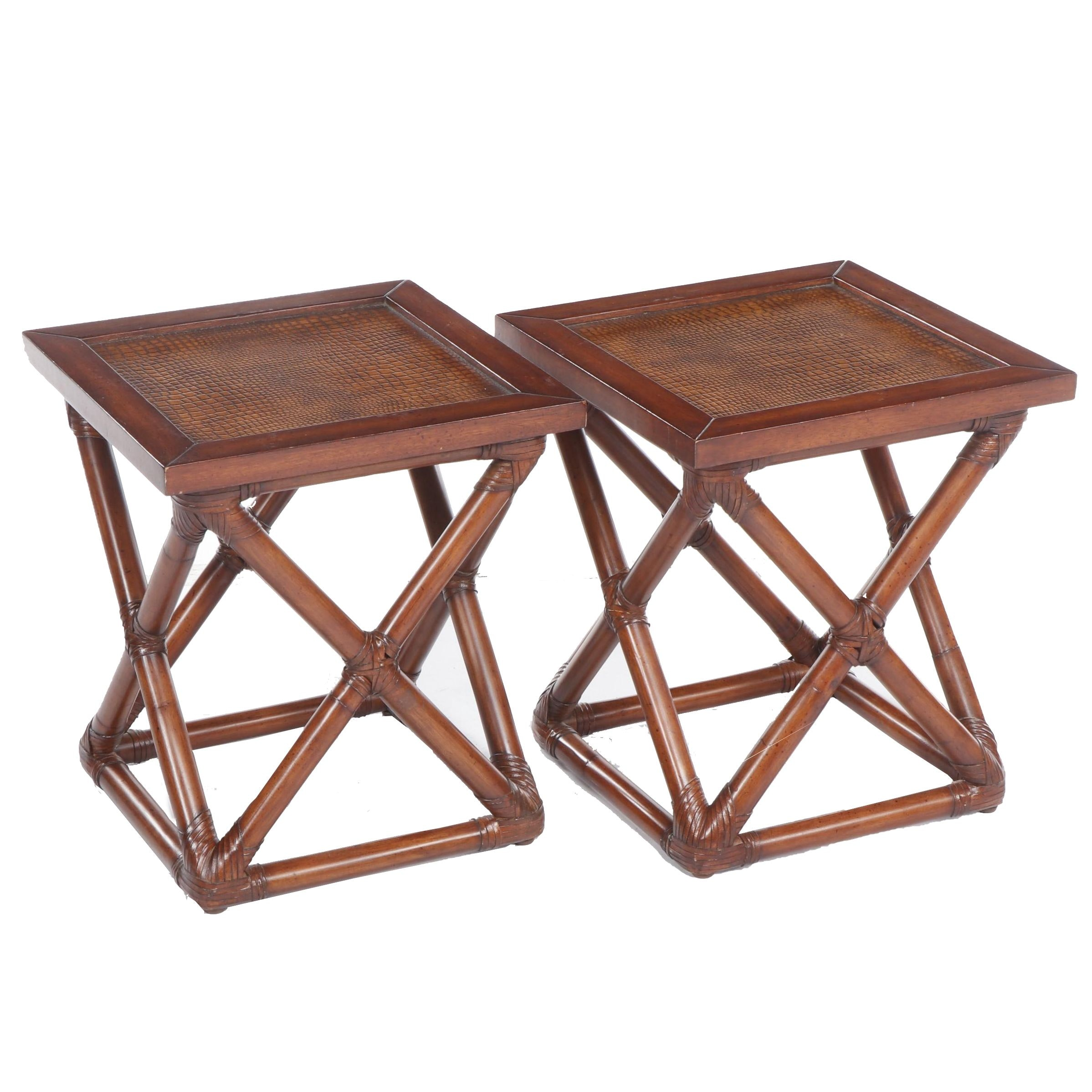 Pair of Contemporary Palecek Rattan End Tables with Faux Alligator Padded Tops