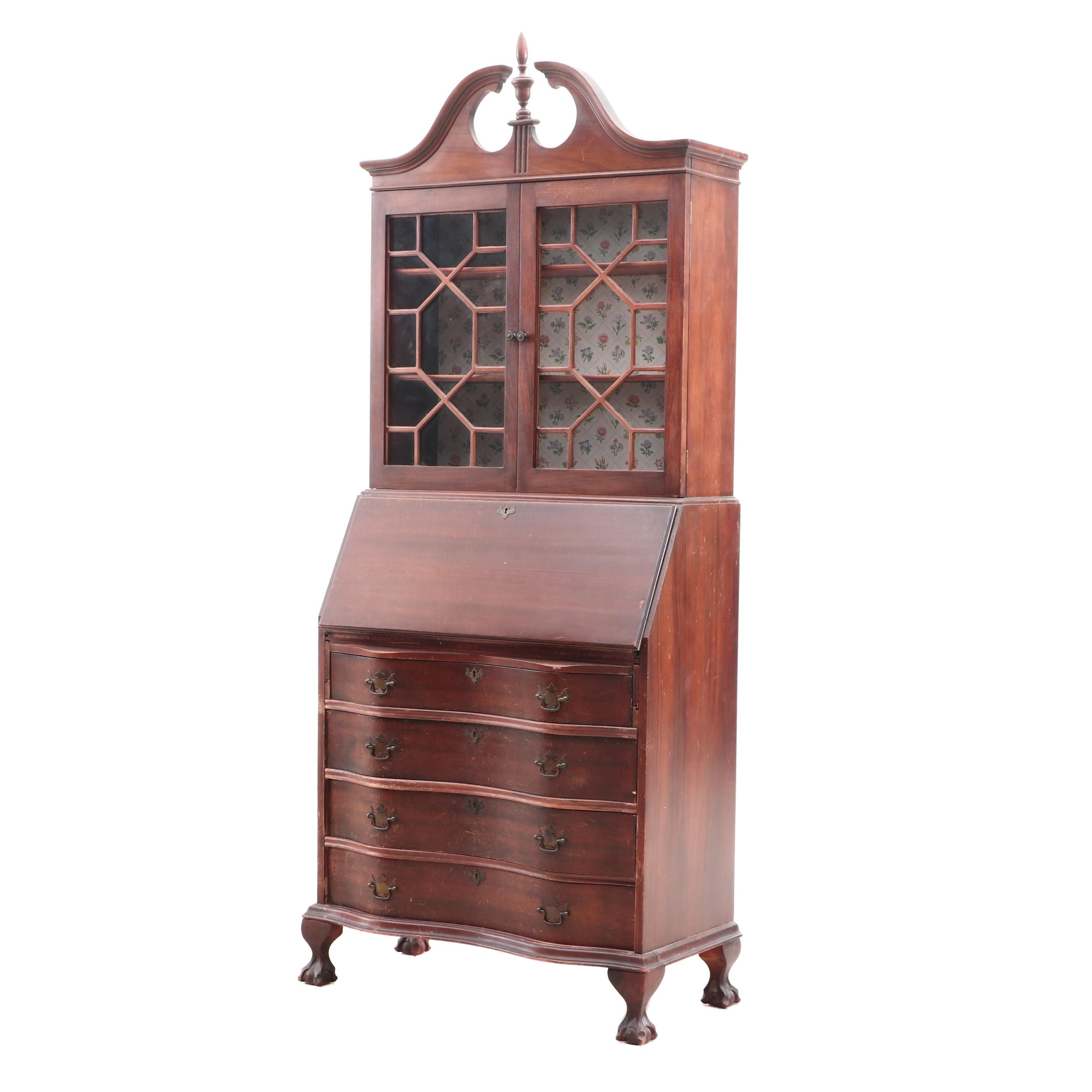 Federal Style Cherry Bookcase Serpentine Front Secretary by Ebert Furniture