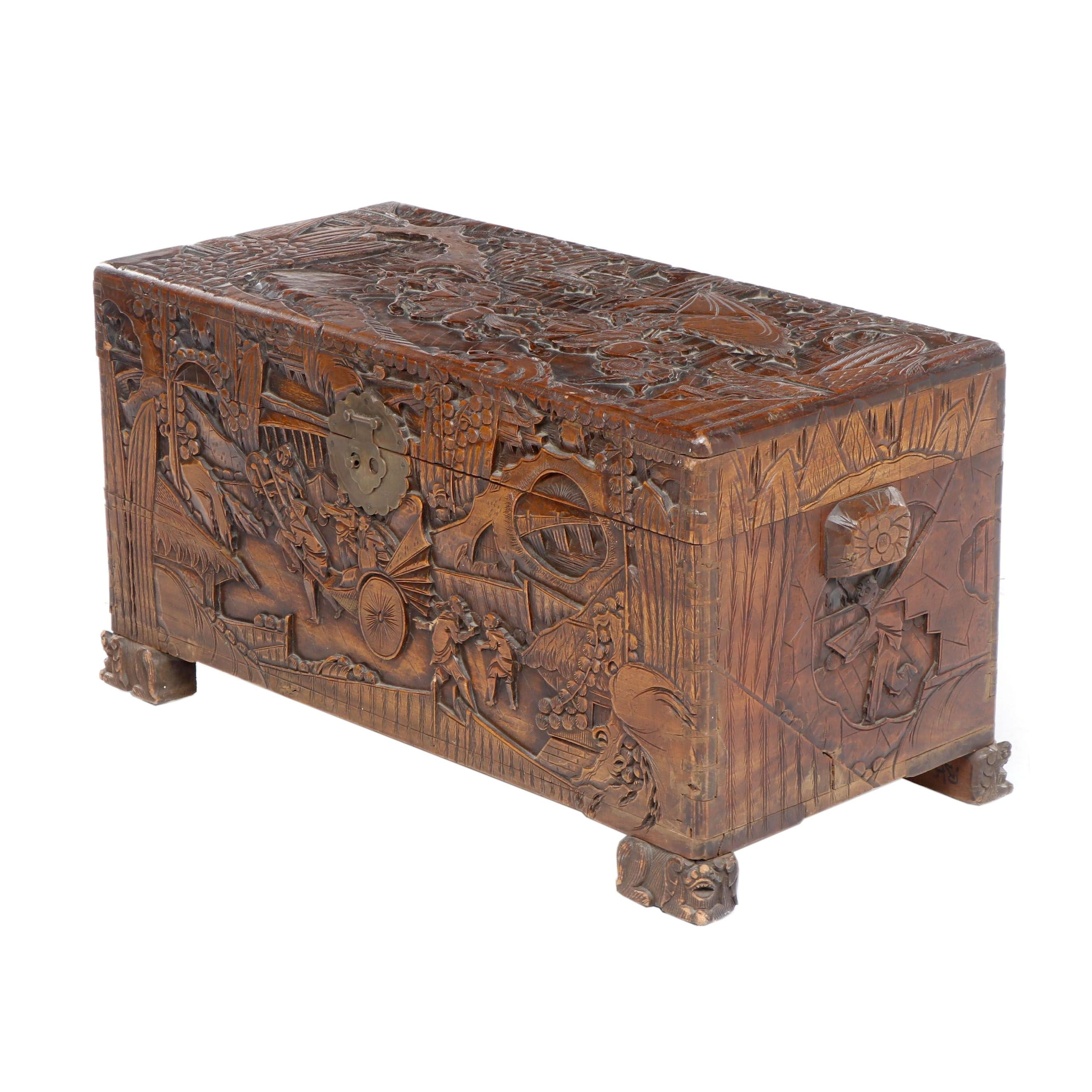 Chinese Carved Cedar Lined Chest