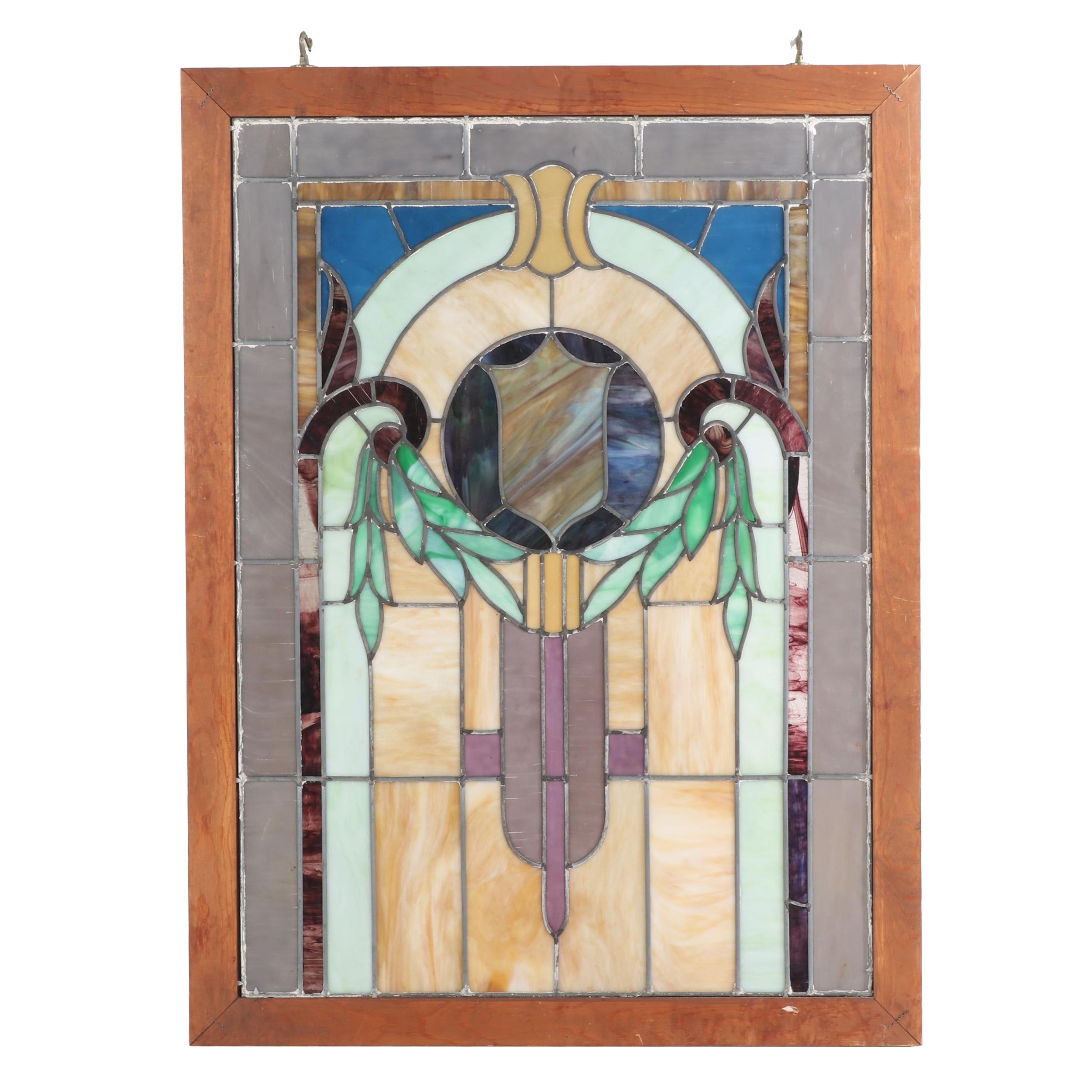 Victorian Style Leaded Stained Glass Panel, Early 20th Century