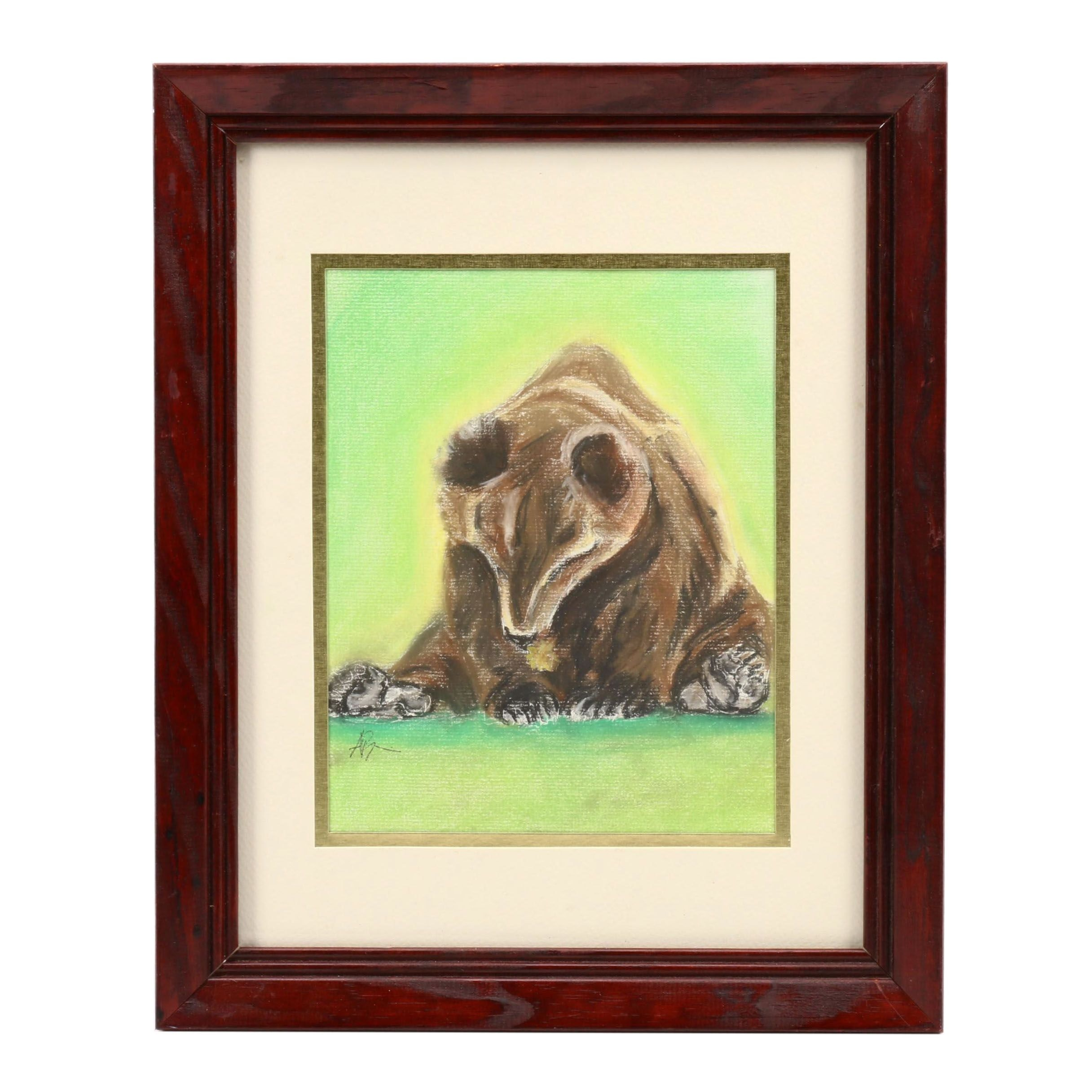 Angela Phipps Pastel Drawing of a Bear