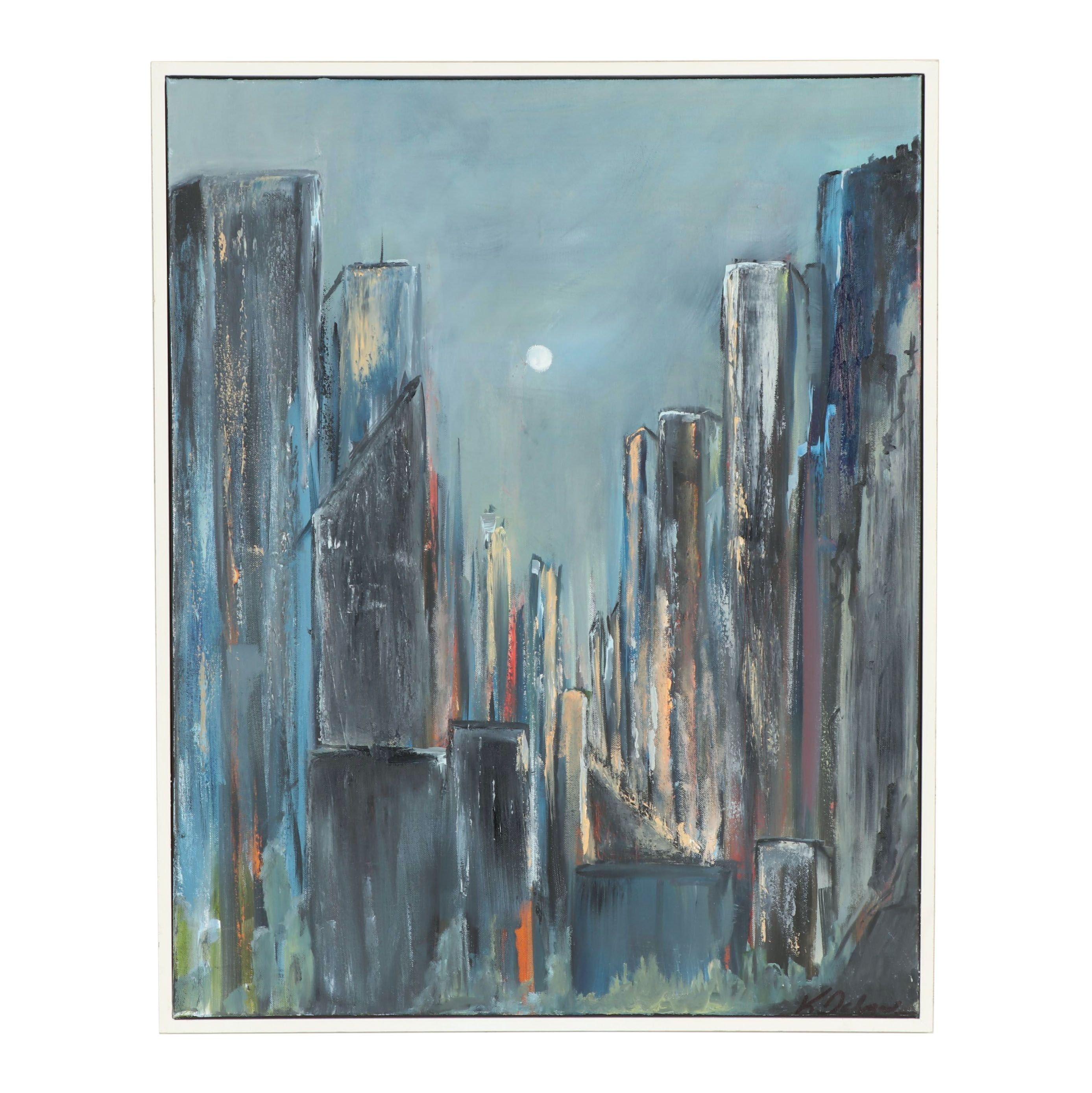 """Kristina Taherzadeh Oil Painting """"Night Sky"""""""
