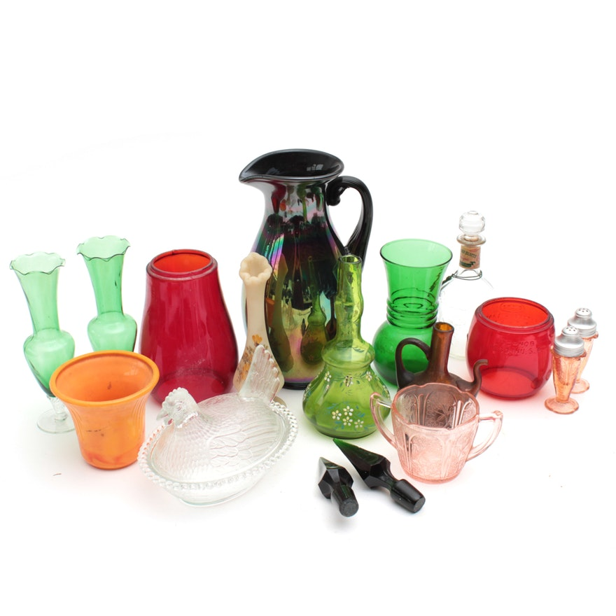 Fenton Carnival Glass Pitcher, Anchor Hocking Glass Vase, and More
